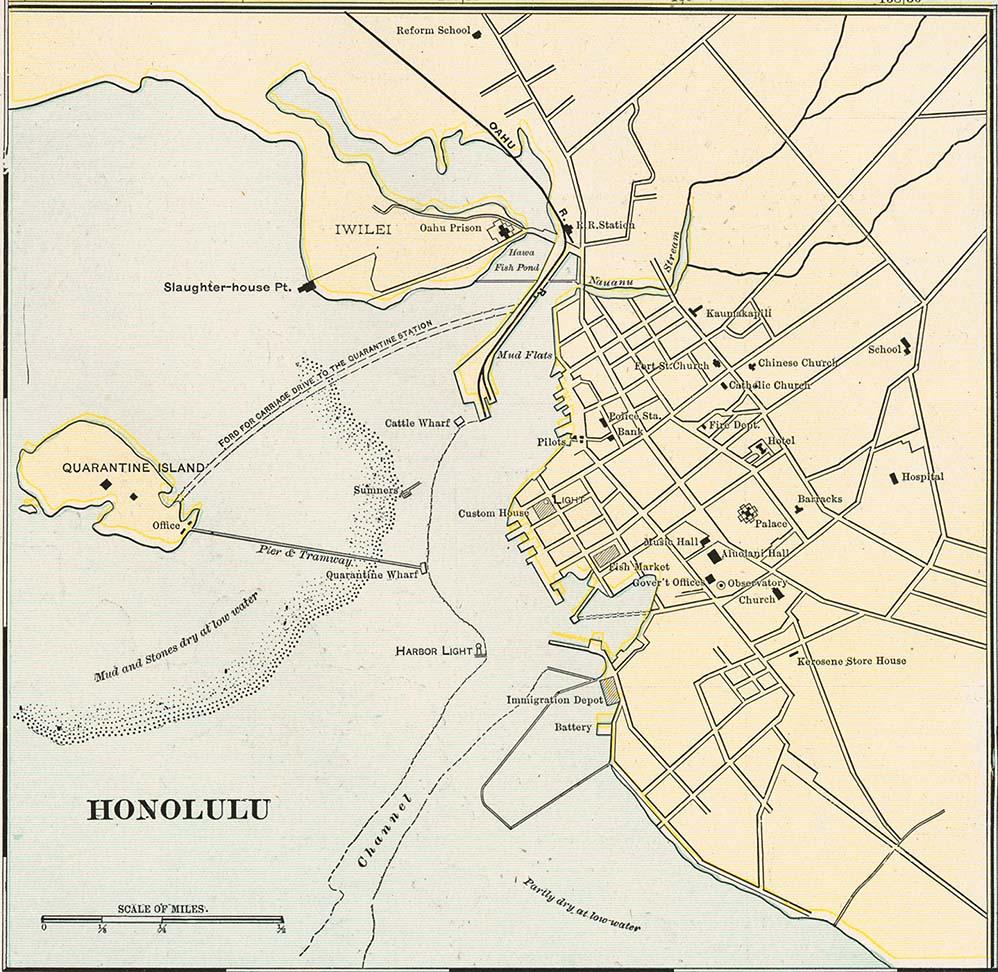 Mapa de Honolulu, Hawái, Estados Unidos 1901