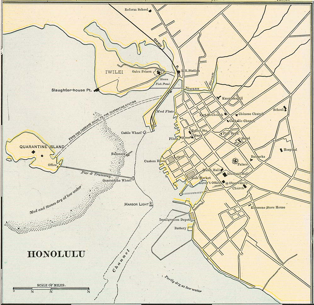 Honolulu Map, Hawaii, United States 1901
