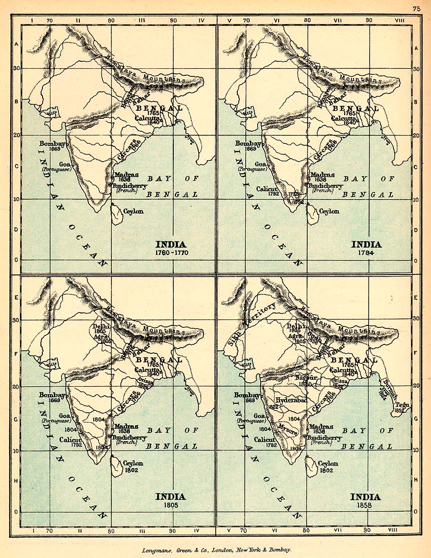 Map of India, Showing the Growth of the English Dominions