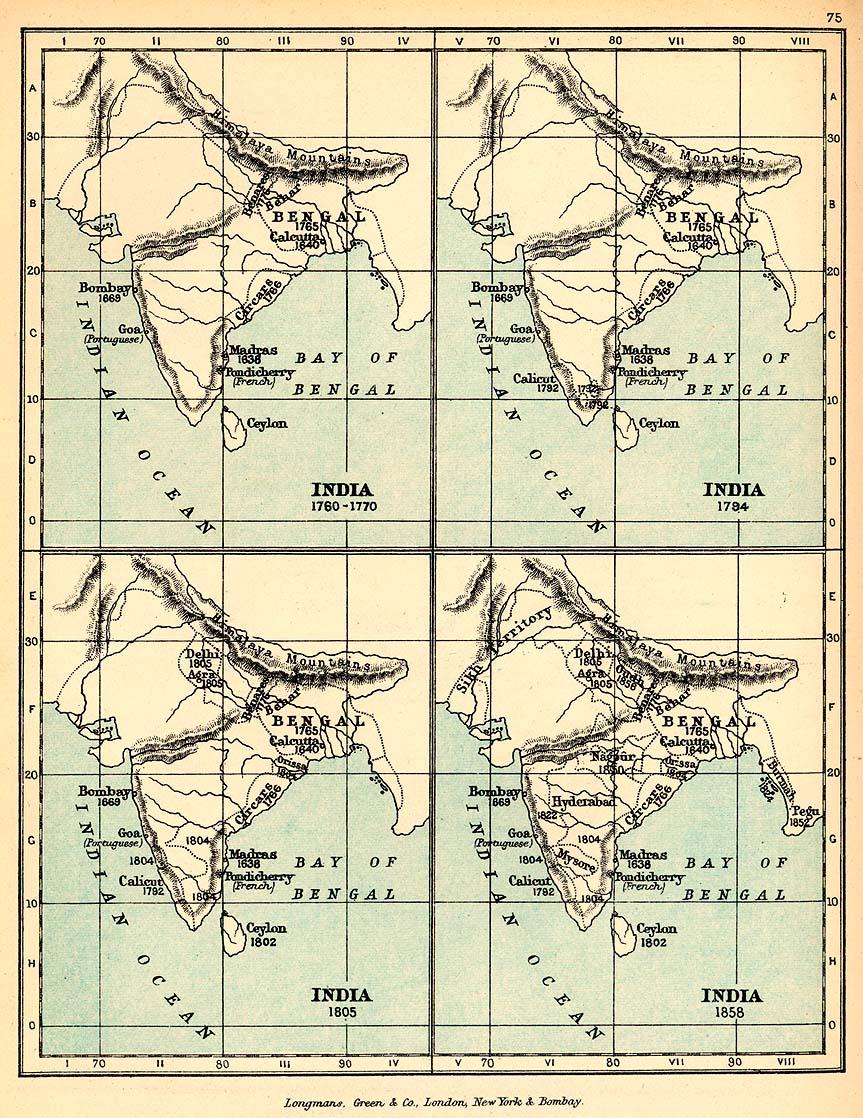 Mapa de India, Mostrando el Crecimiento de los Dominios Británicos