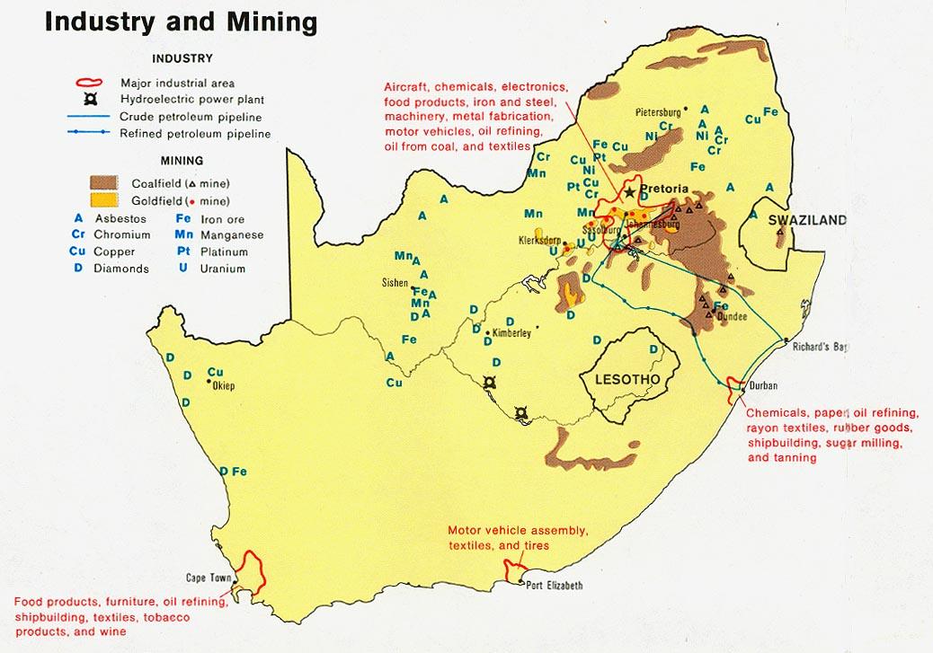 Mapa de Industria y Minería de Sudáfrica