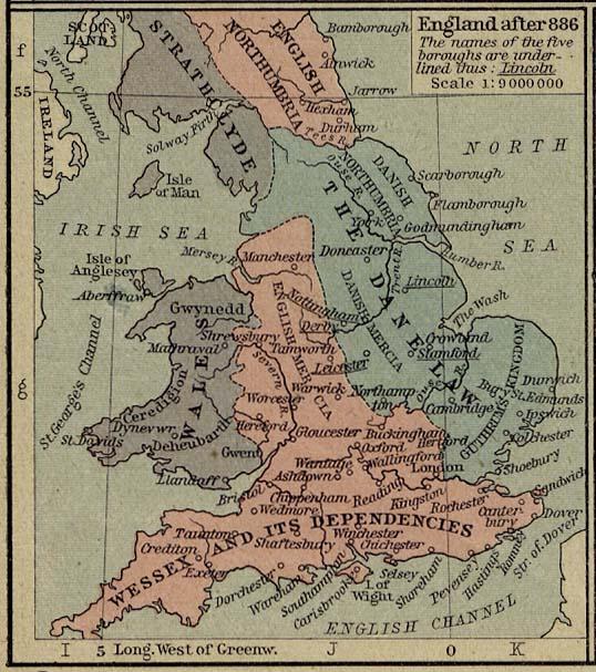 Mapa de Inglaterra Despues 886
