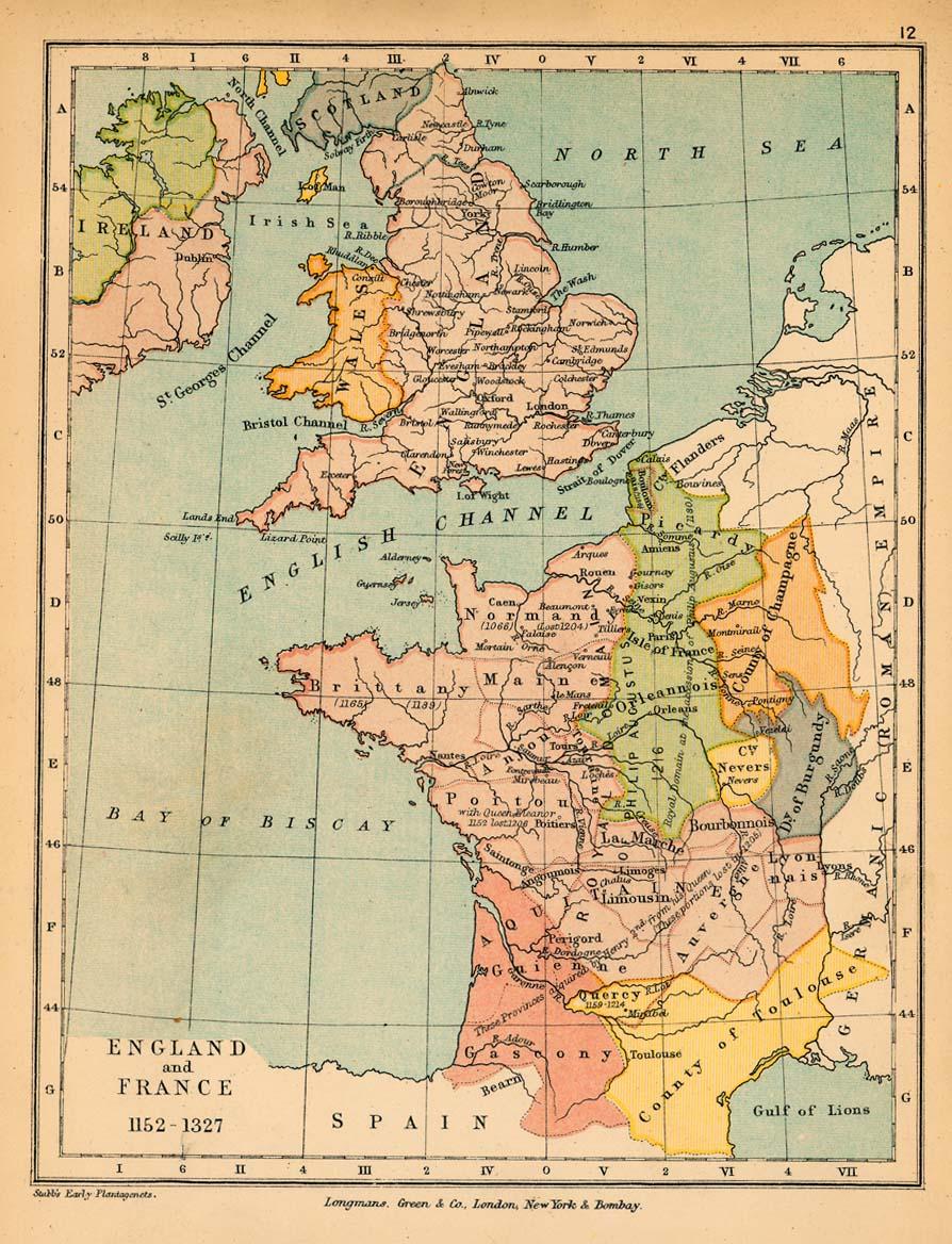 Mapa de Inglaterra y Francia 1152  - 1327