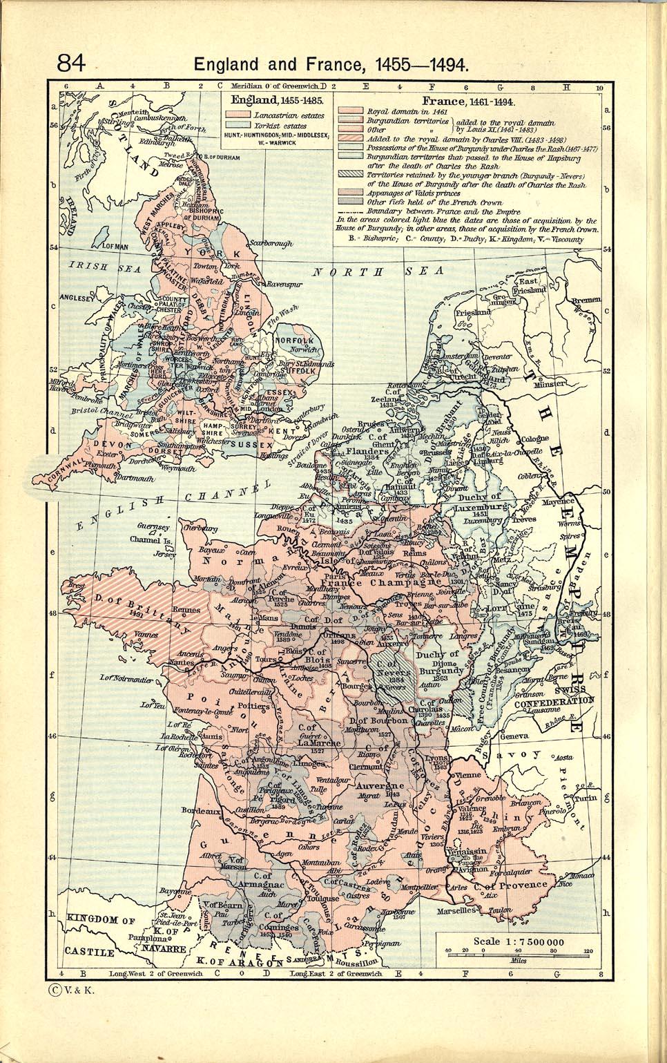Mapa de Inglaterra y Francia, 1455 - 1494
