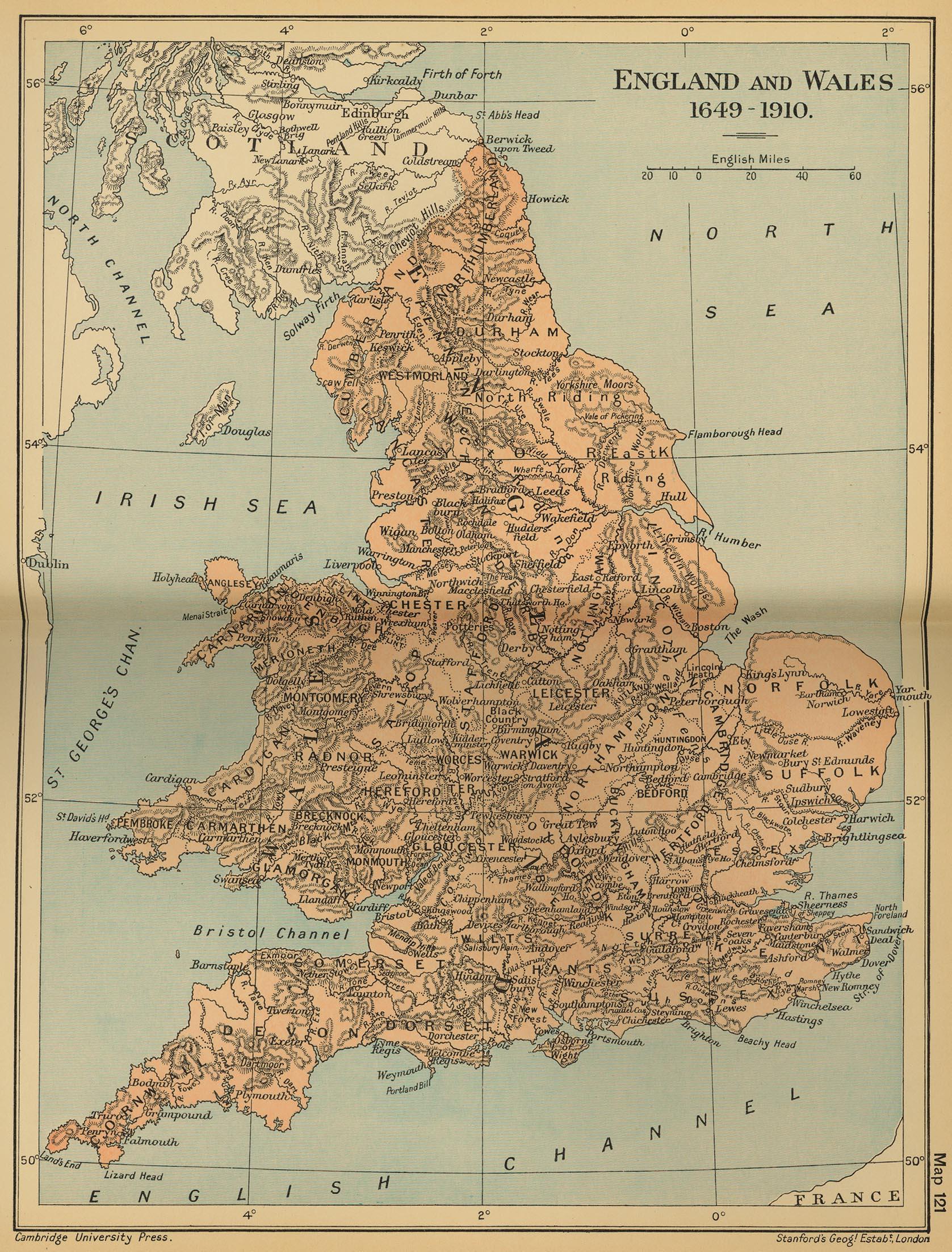 Mapa de Inglaterra y del País de Gales 1649  - 1910