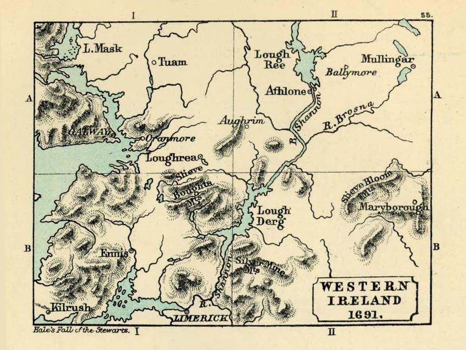Mapa de Irlanda Occidental 1691