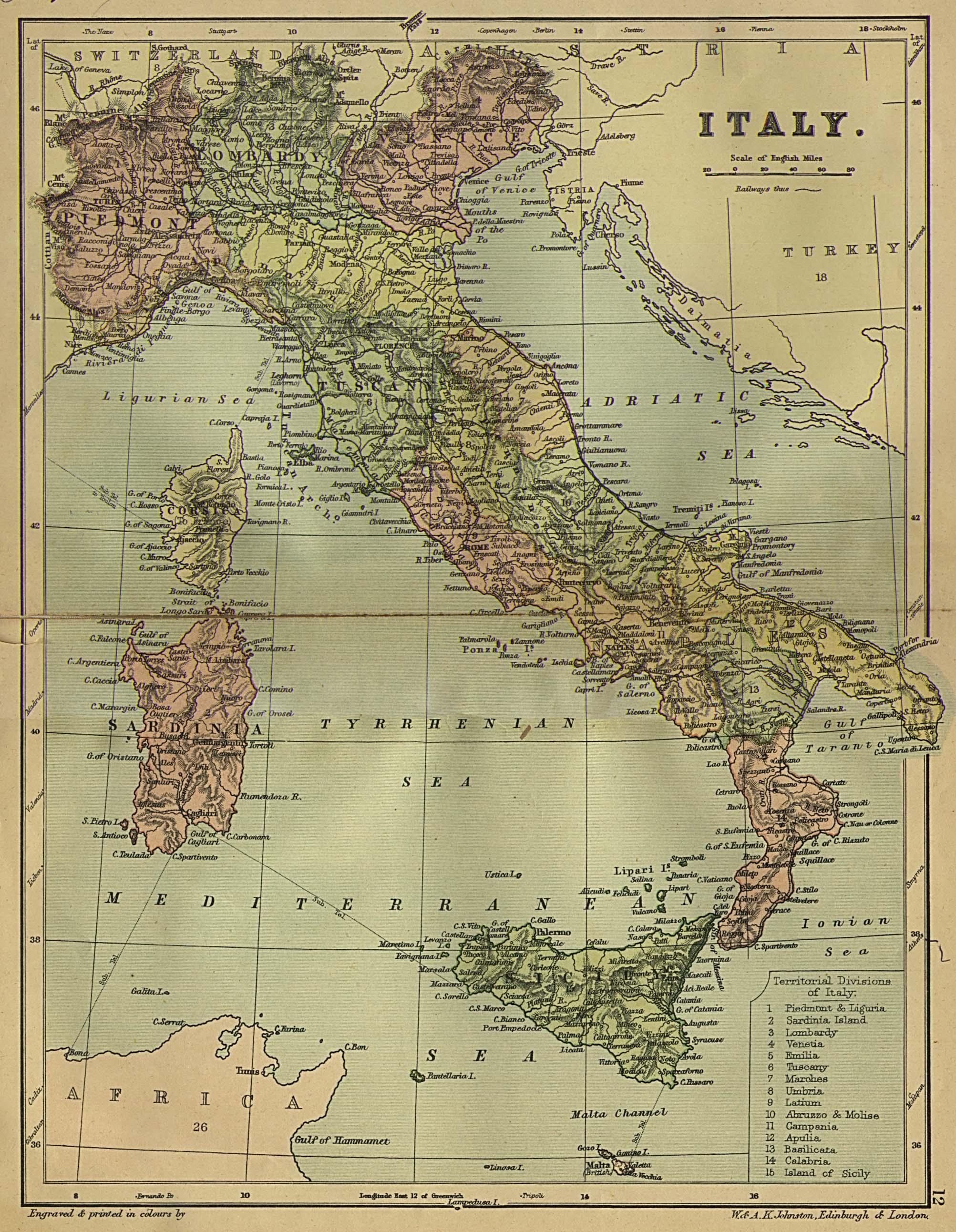 Mapa de Italia 1882