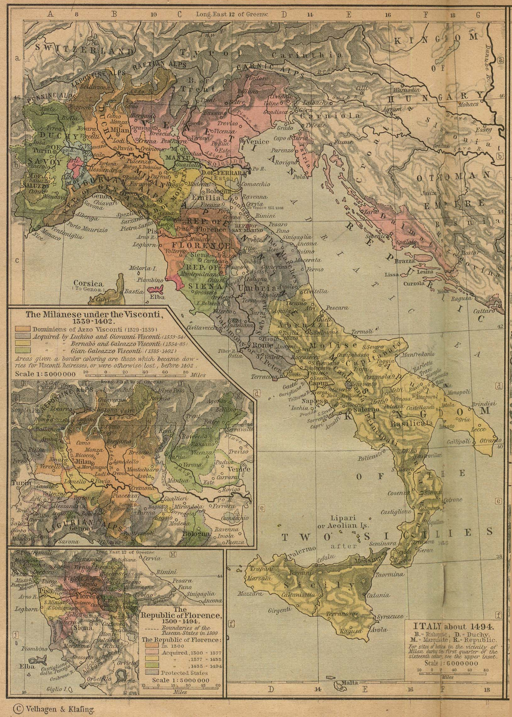 Map of Italy About 1494