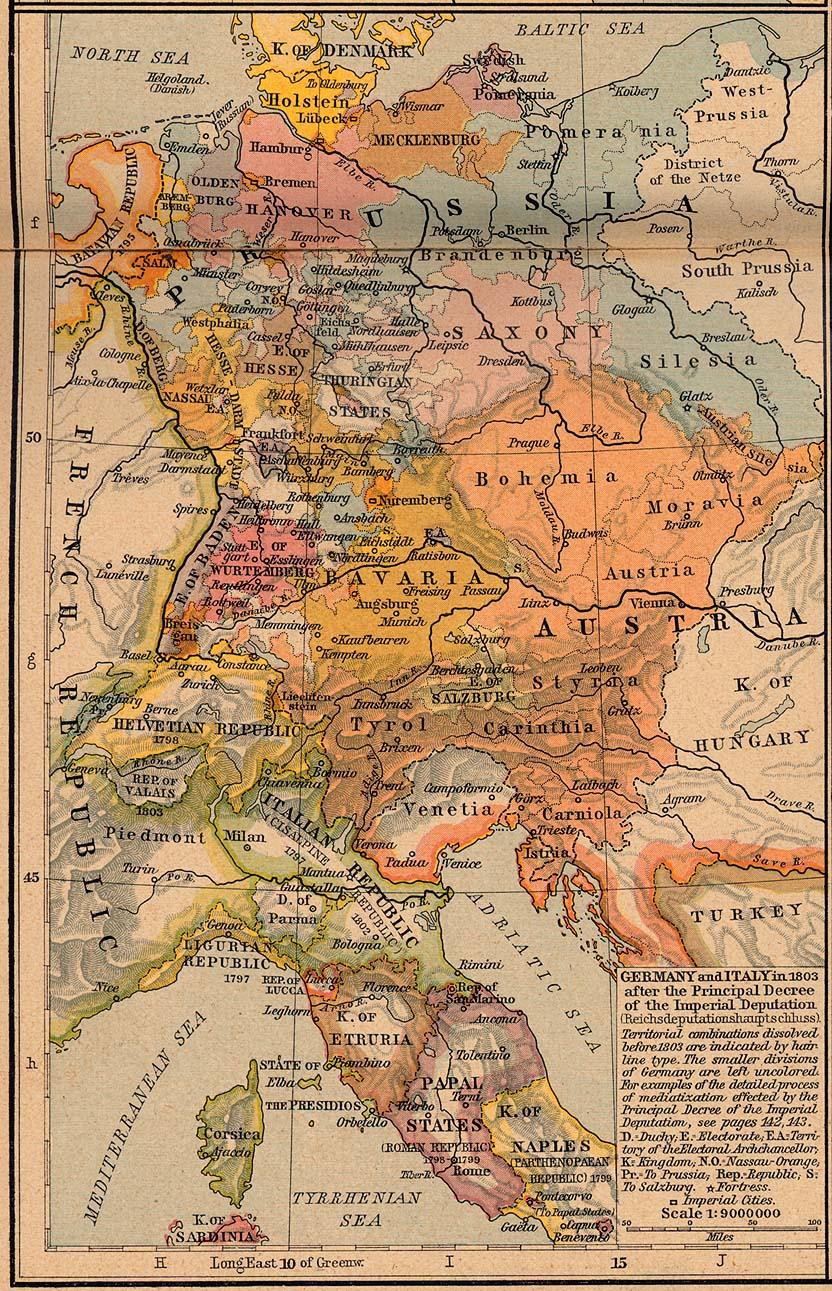 Mapa de Italia y Alemania 1803