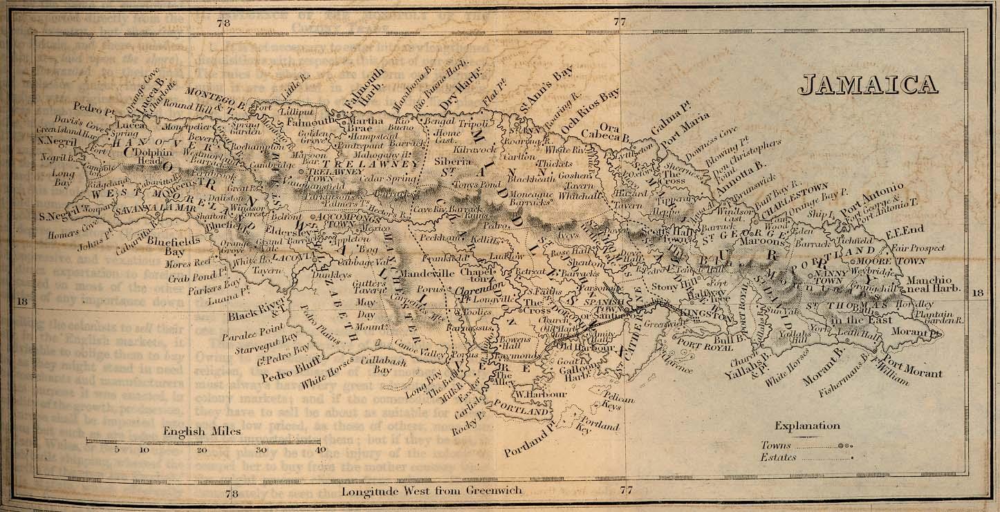 Mapa de Jamaica 1882