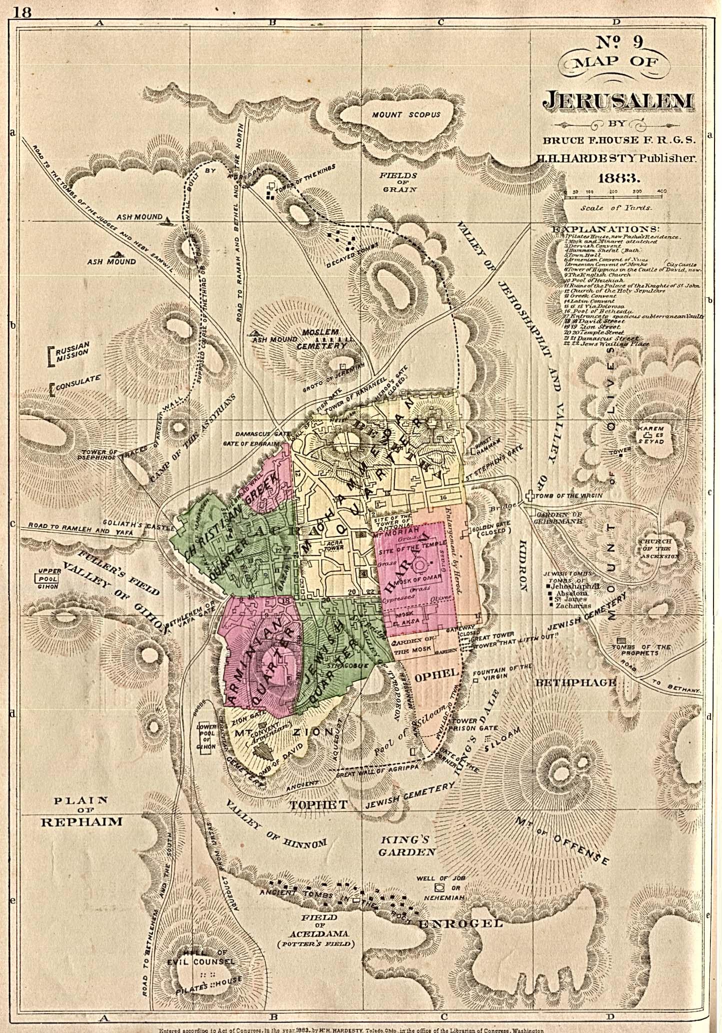 Mapa de Jerusalén 1884