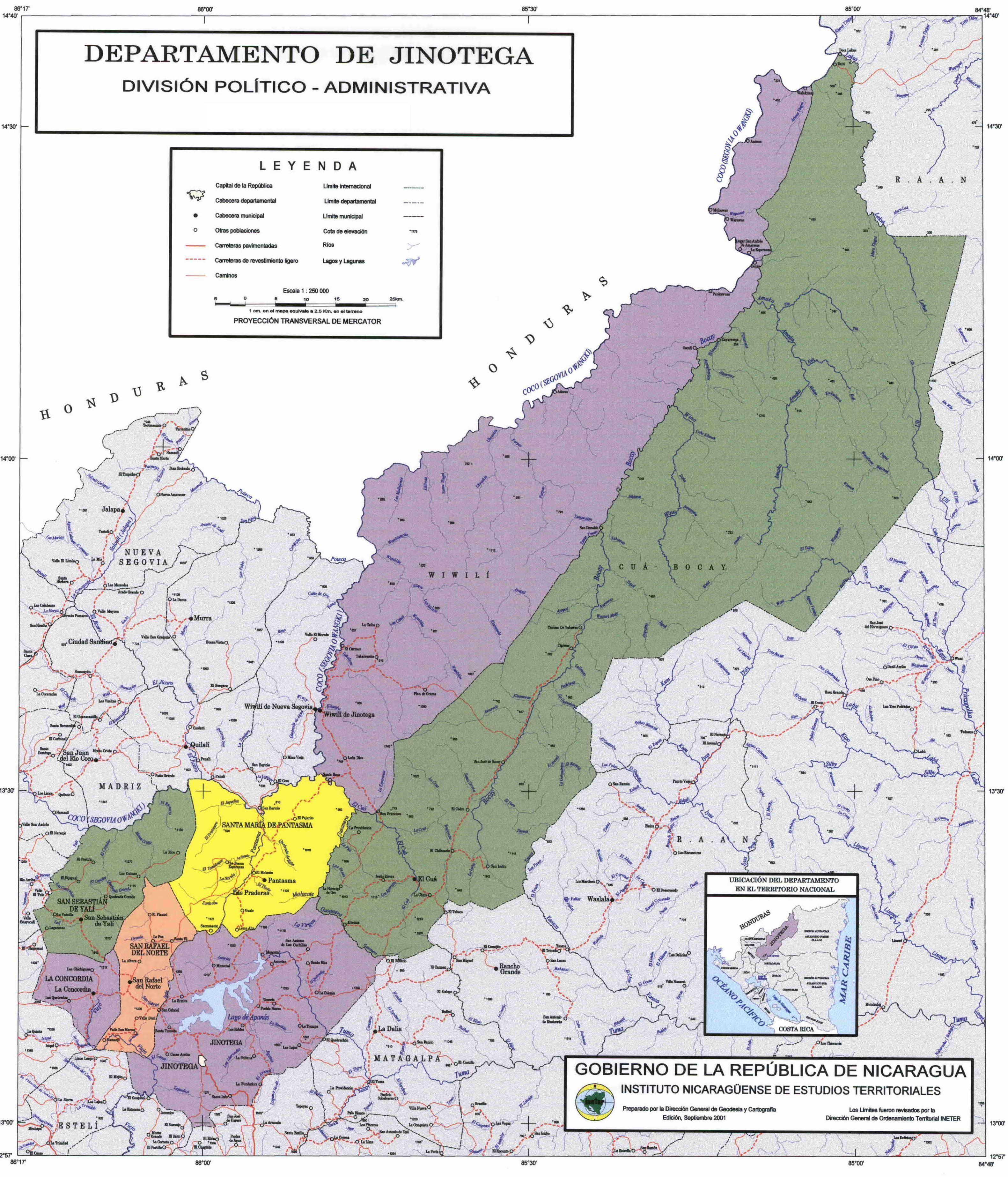 Mapa de Jinotega, División Político-Administrativa del Departamento, Nicaragua