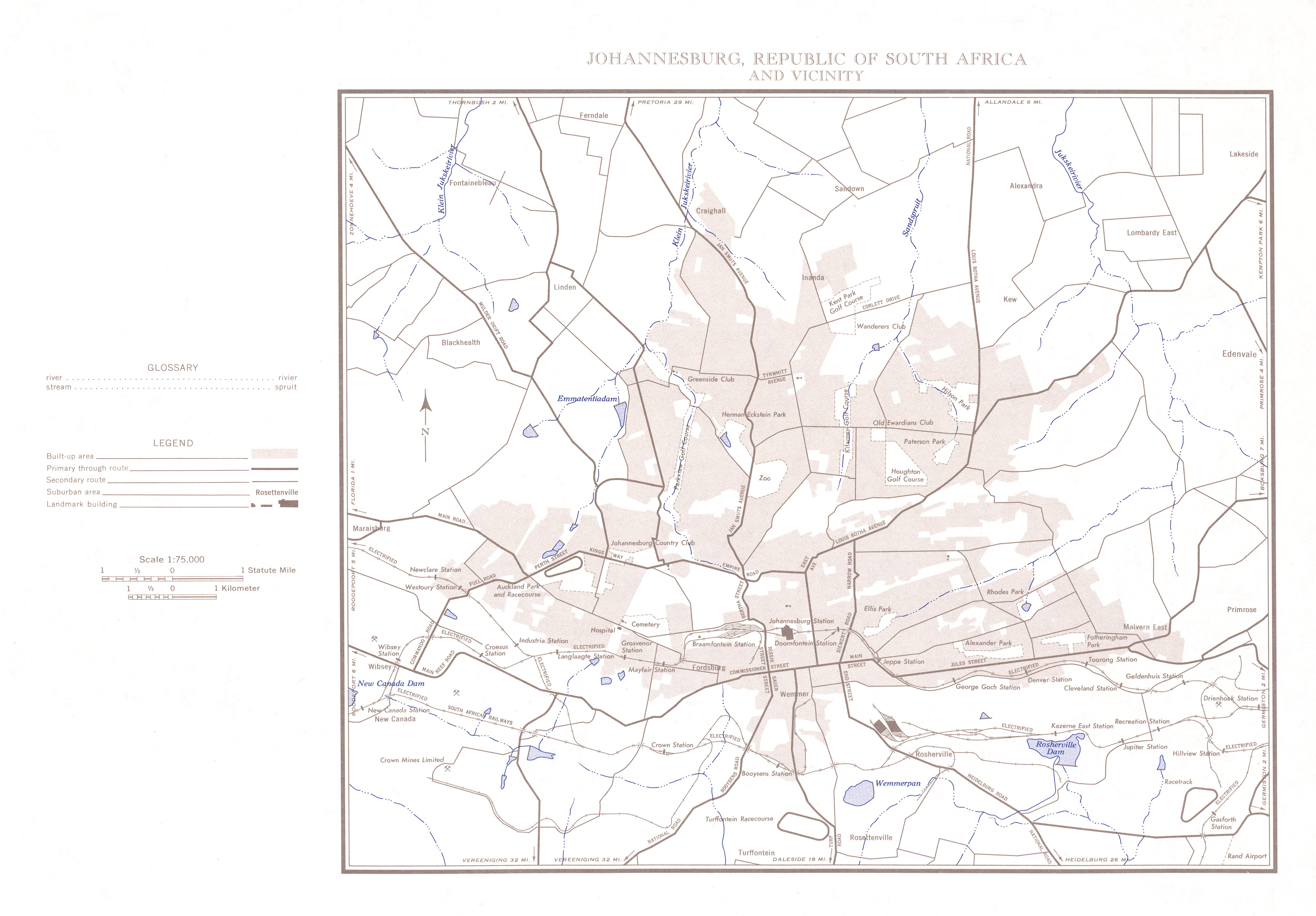 Mapa de Johannesburgo y Cercanías, Sudáfrica 1954
