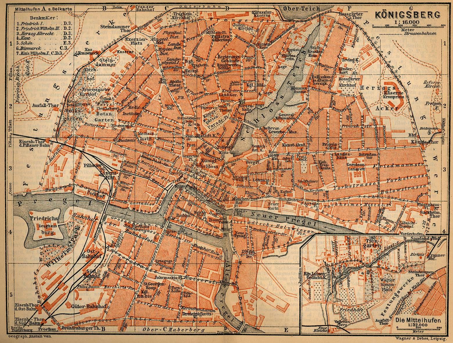 Mapa de Kaliningrado (Königsberg), Rusia 1910