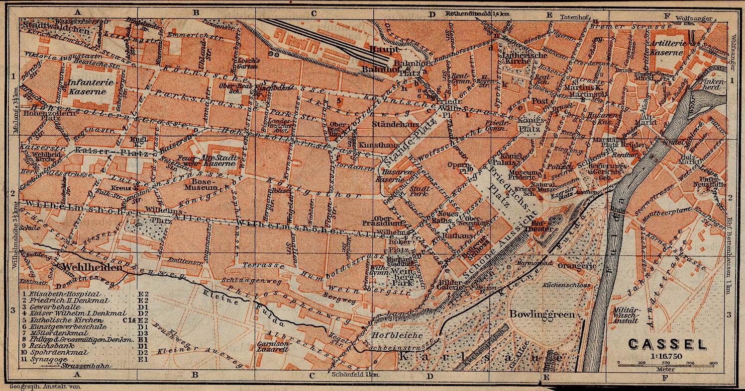 Mapa de Kassel, Alemania 1910