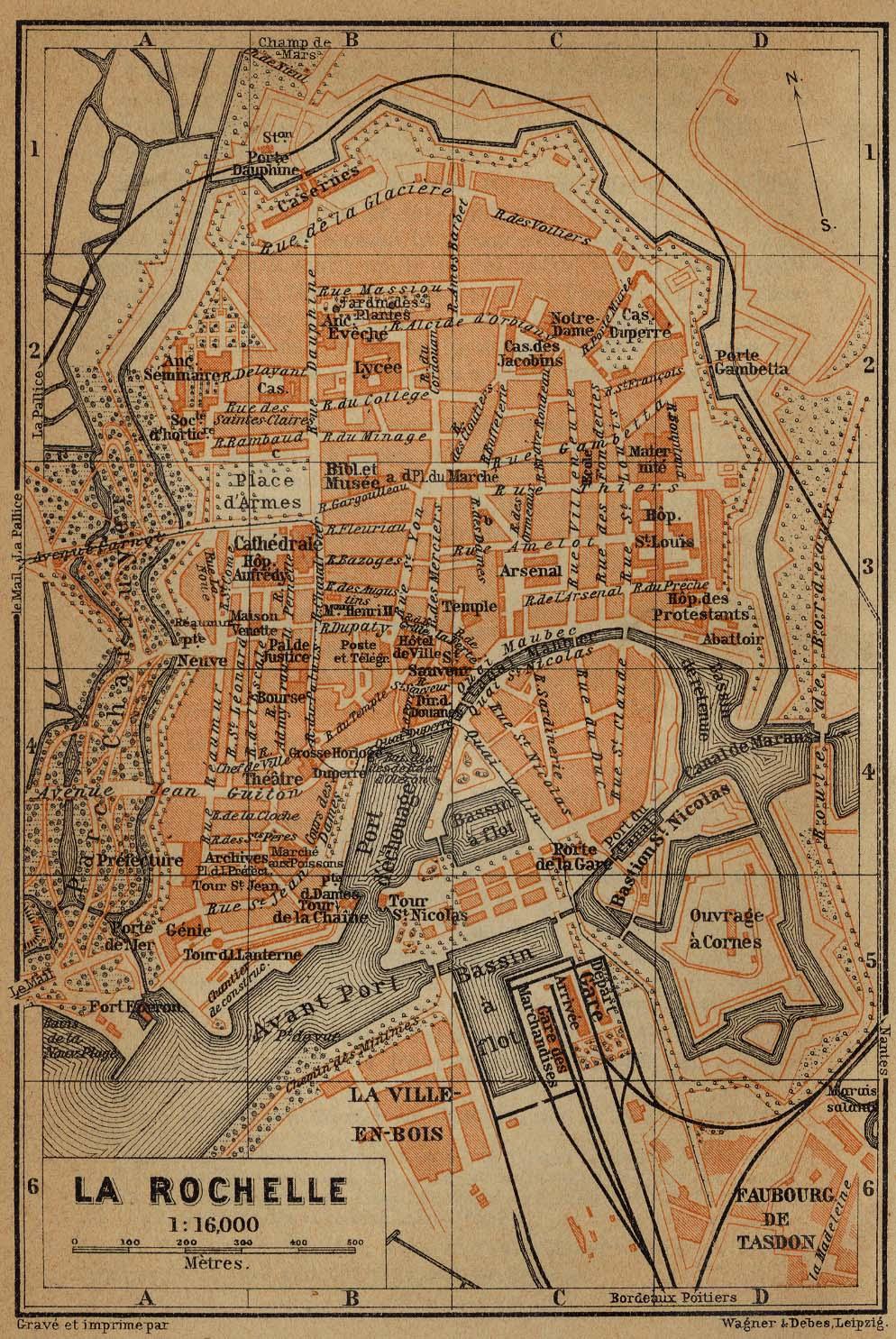 La Rochelle Map, France 1914