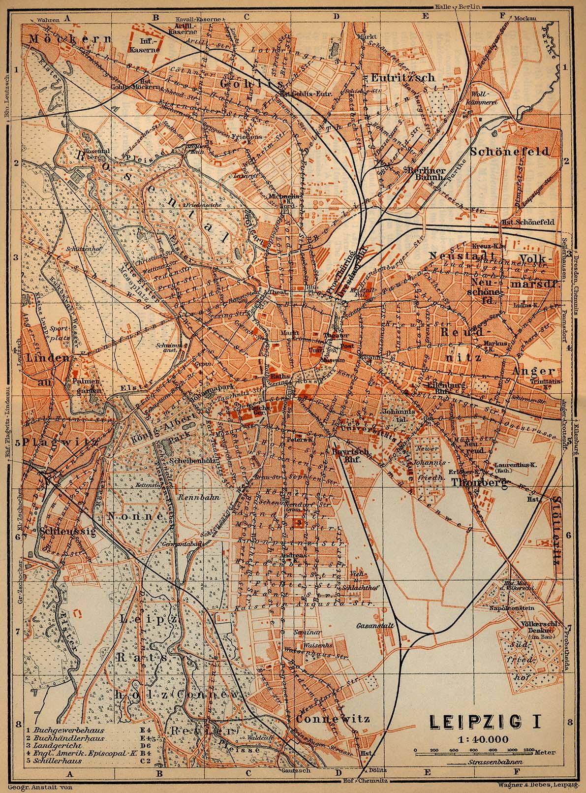 Mapa de Leipzig, Alemania 1910