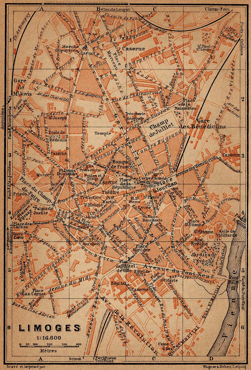 Mapa de Limoges, Francia 1914