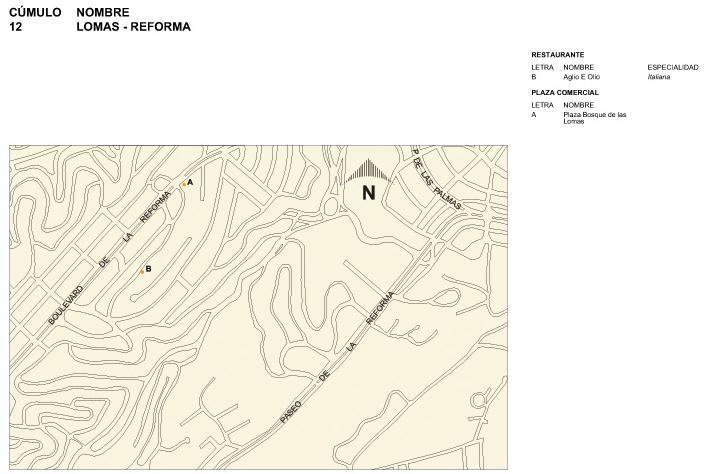 Lomas-Reforma Map, Mexico D.F.