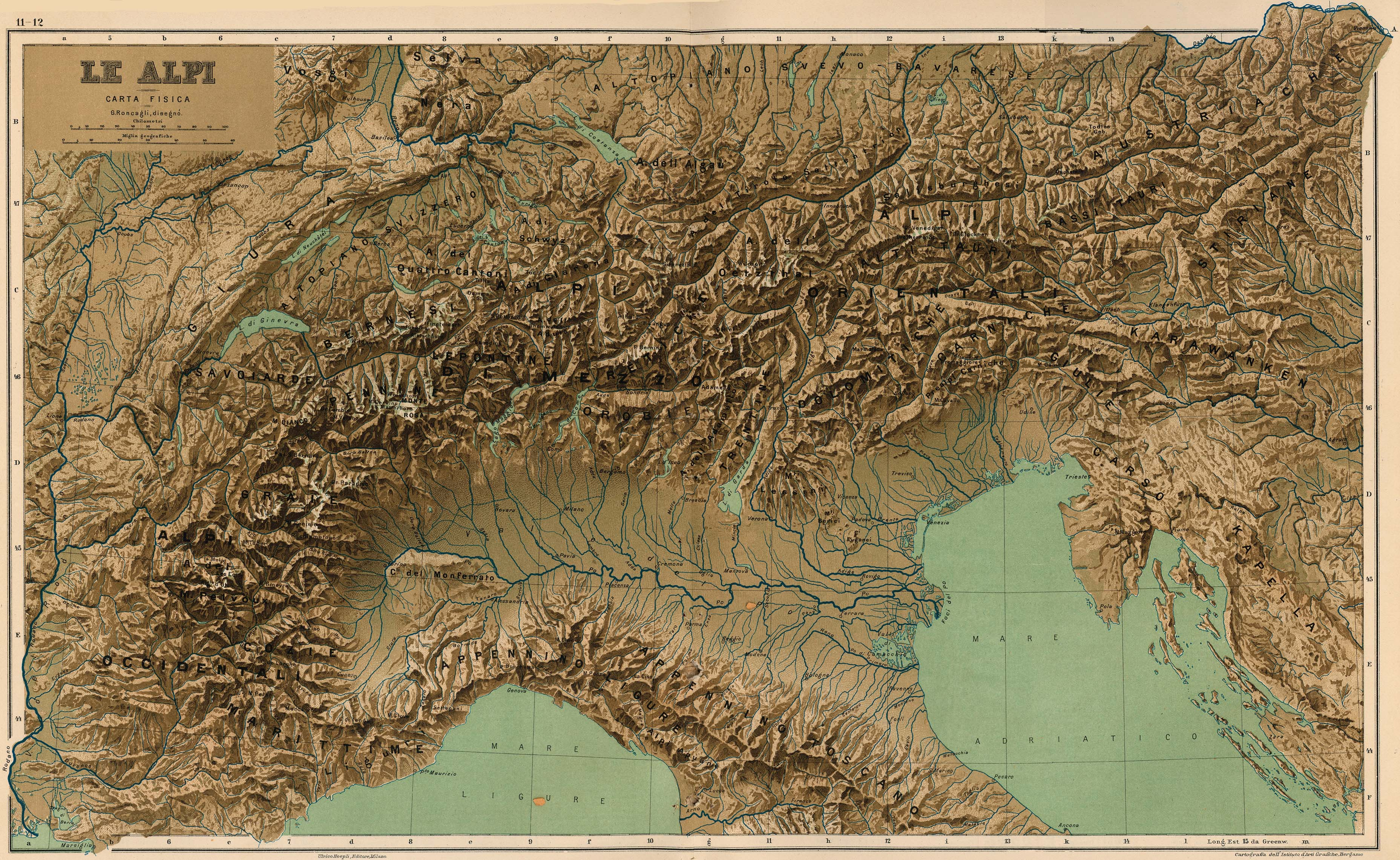 Mapa de Los Alpes