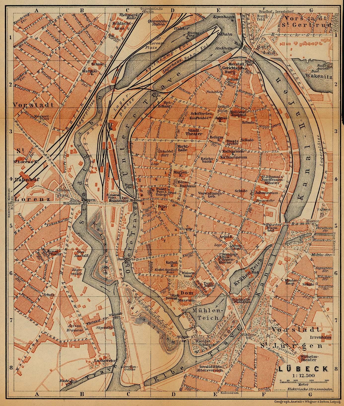 Mapa de Lübeck, Alemania 1910