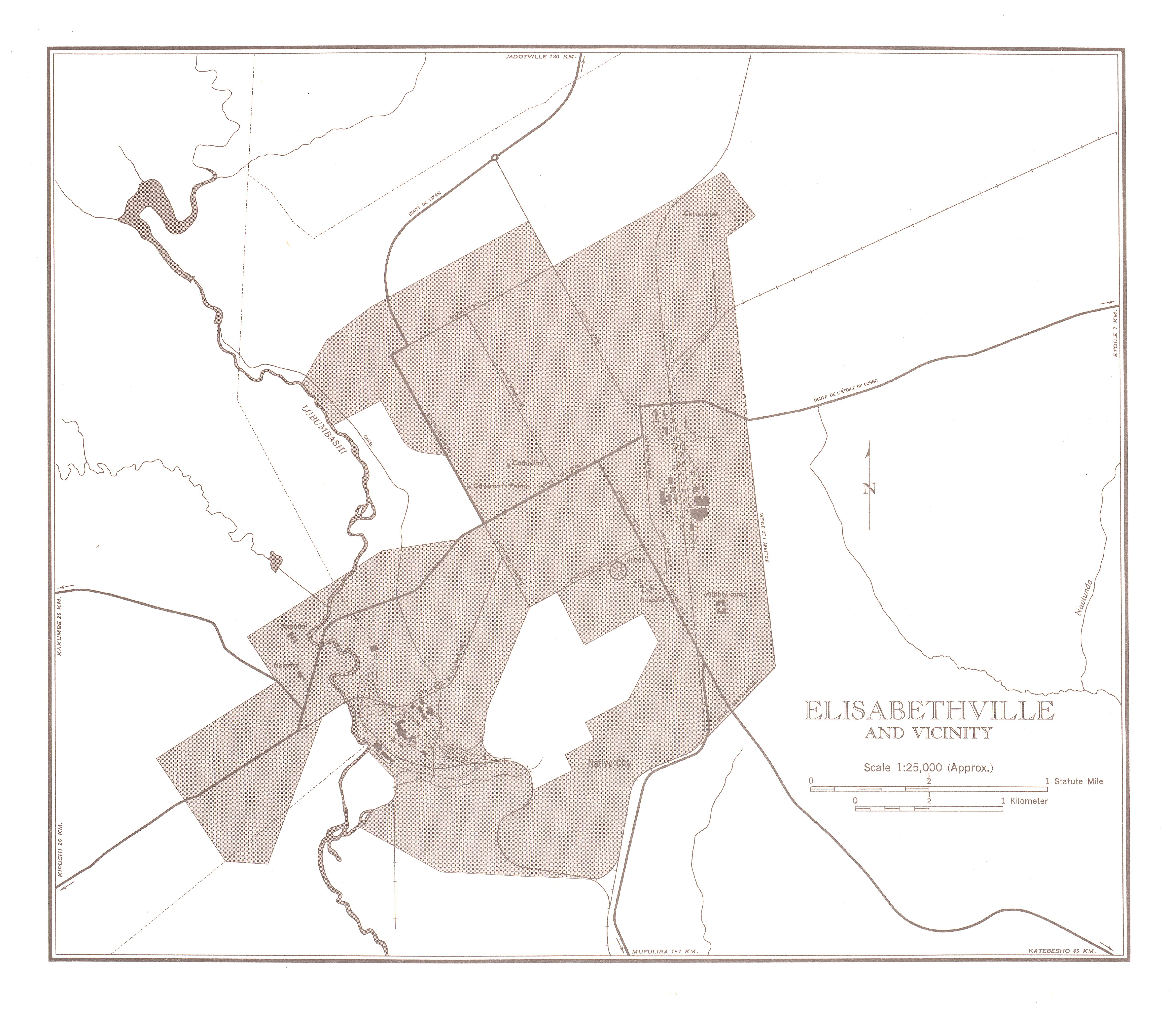 Lubumbashi (Elisabethville) and Vicinity Map, Democratic Republic of the Congo (Zaire) 1954