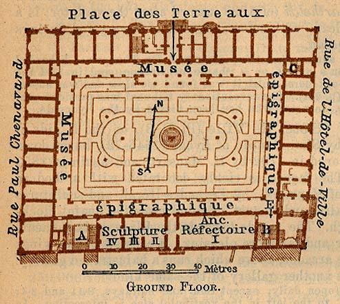 Mapa de Lyon (Palais St-Pierre), Francia 1914