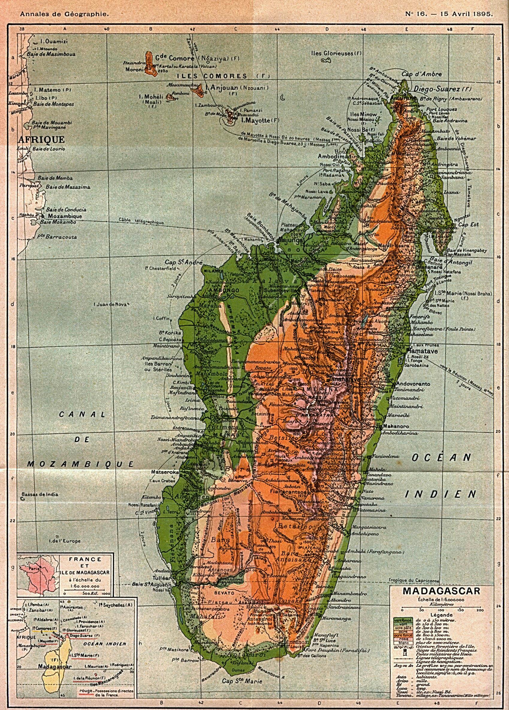 Mapa de Madagascar 1895