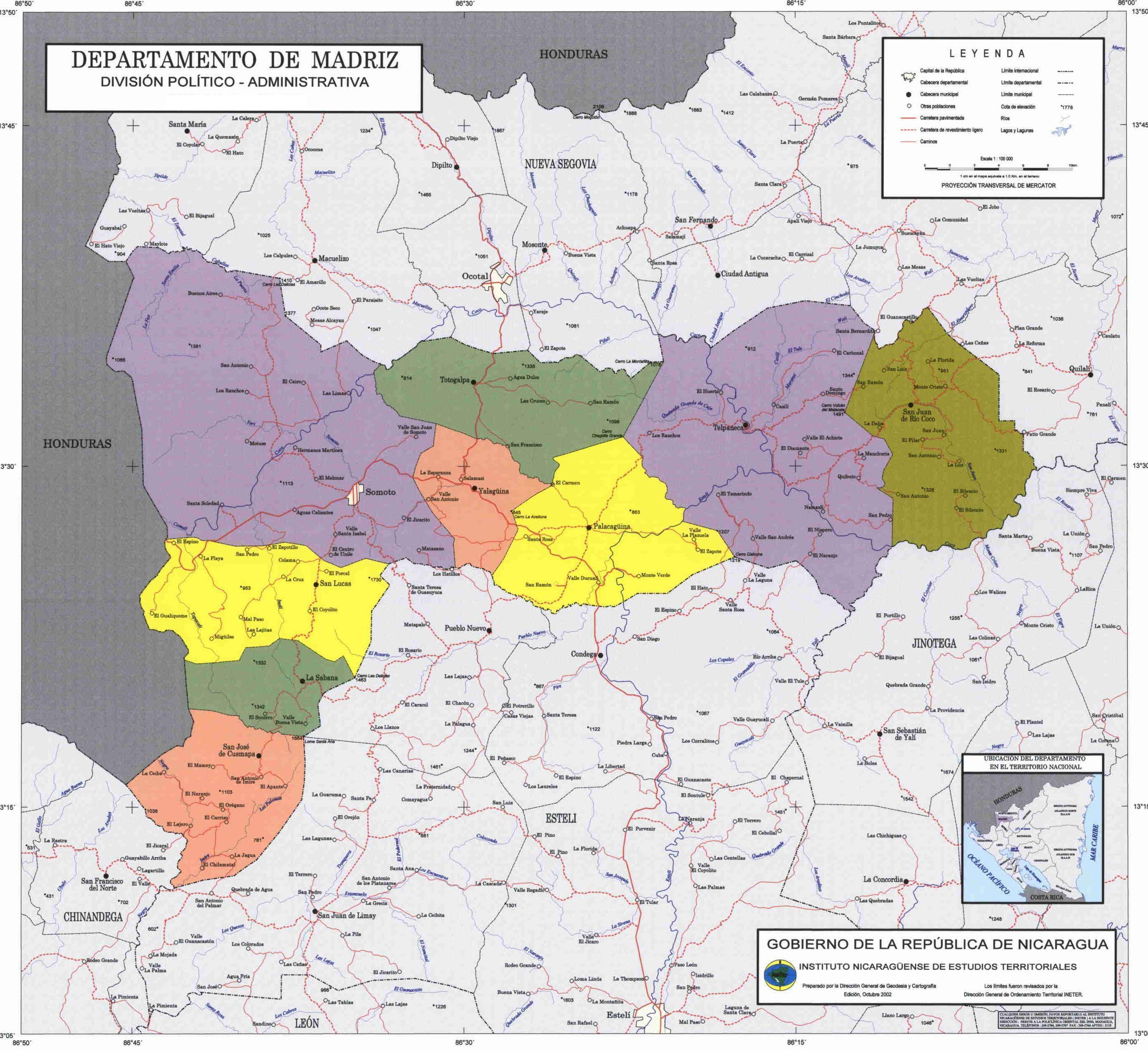Mapa de Madriz, División Político-Administrativa del Departamento, Nicaragua