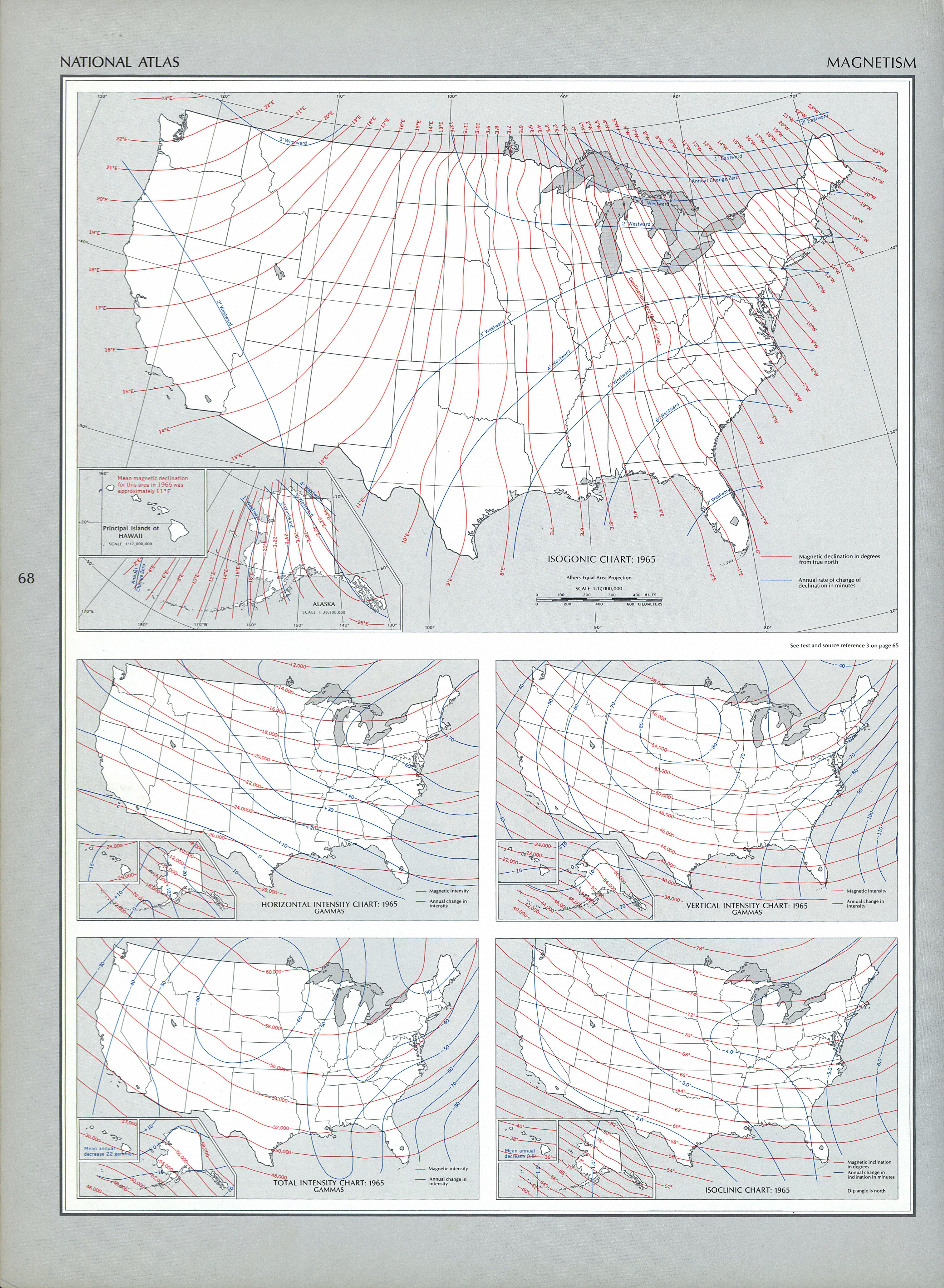 United States Magnetism Map 1970