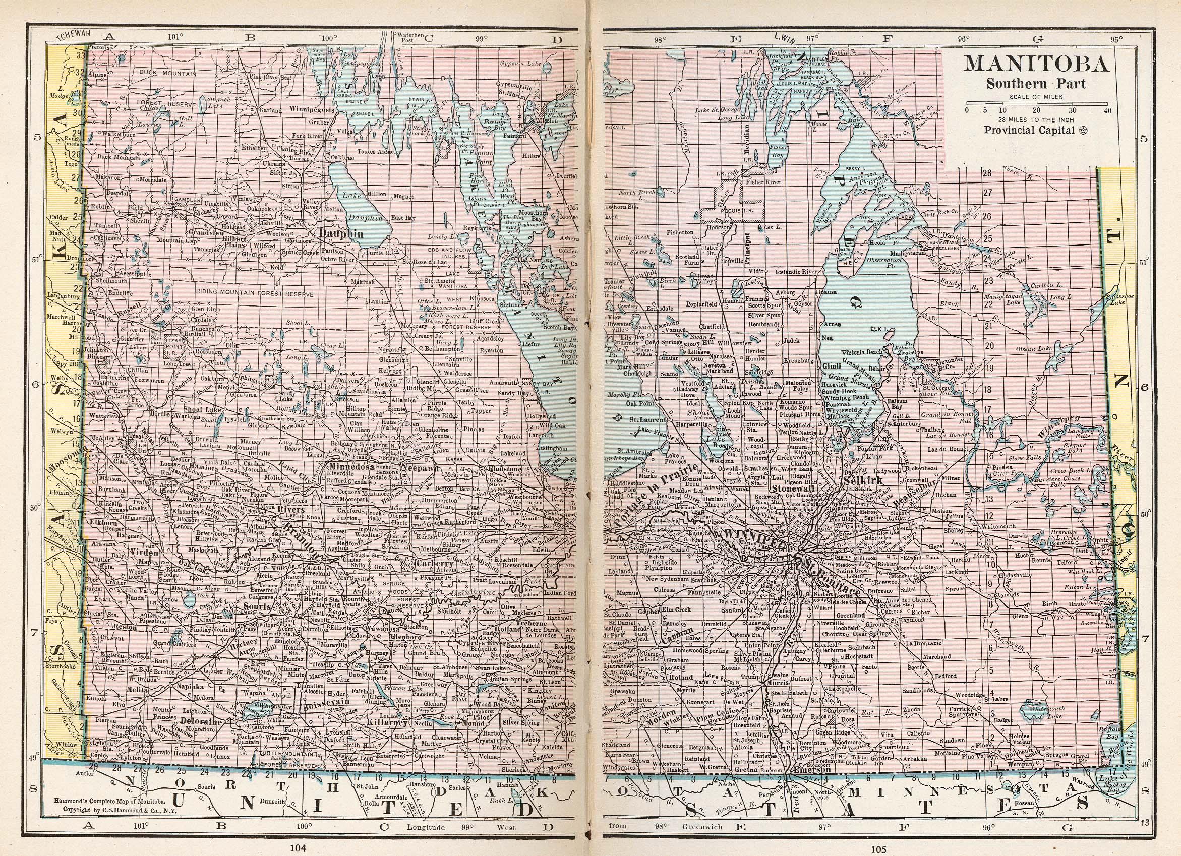 Mapa de Manitoba, Canadá 1921