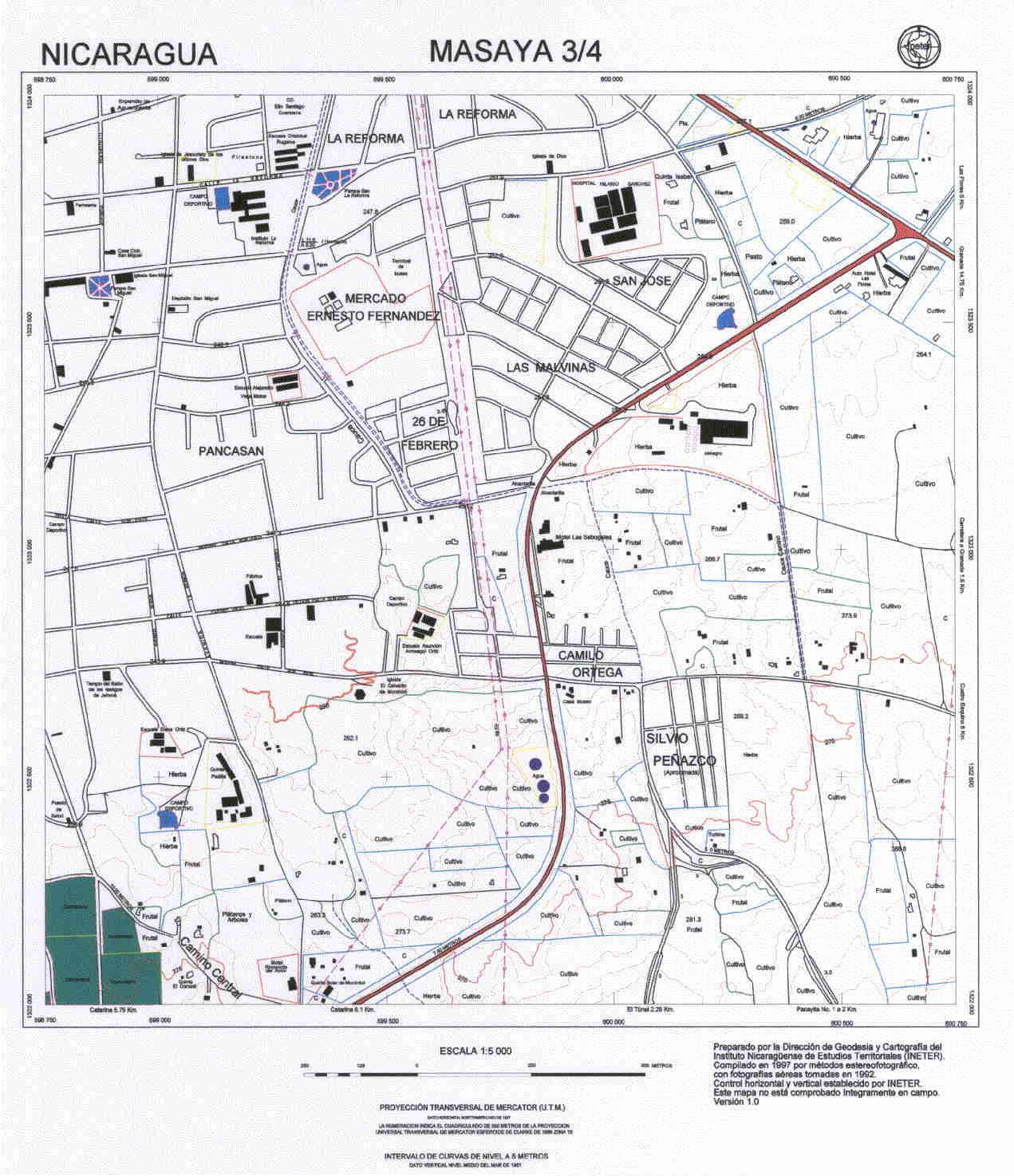 Masaya Southeast Quadrant Map, Nicaragua