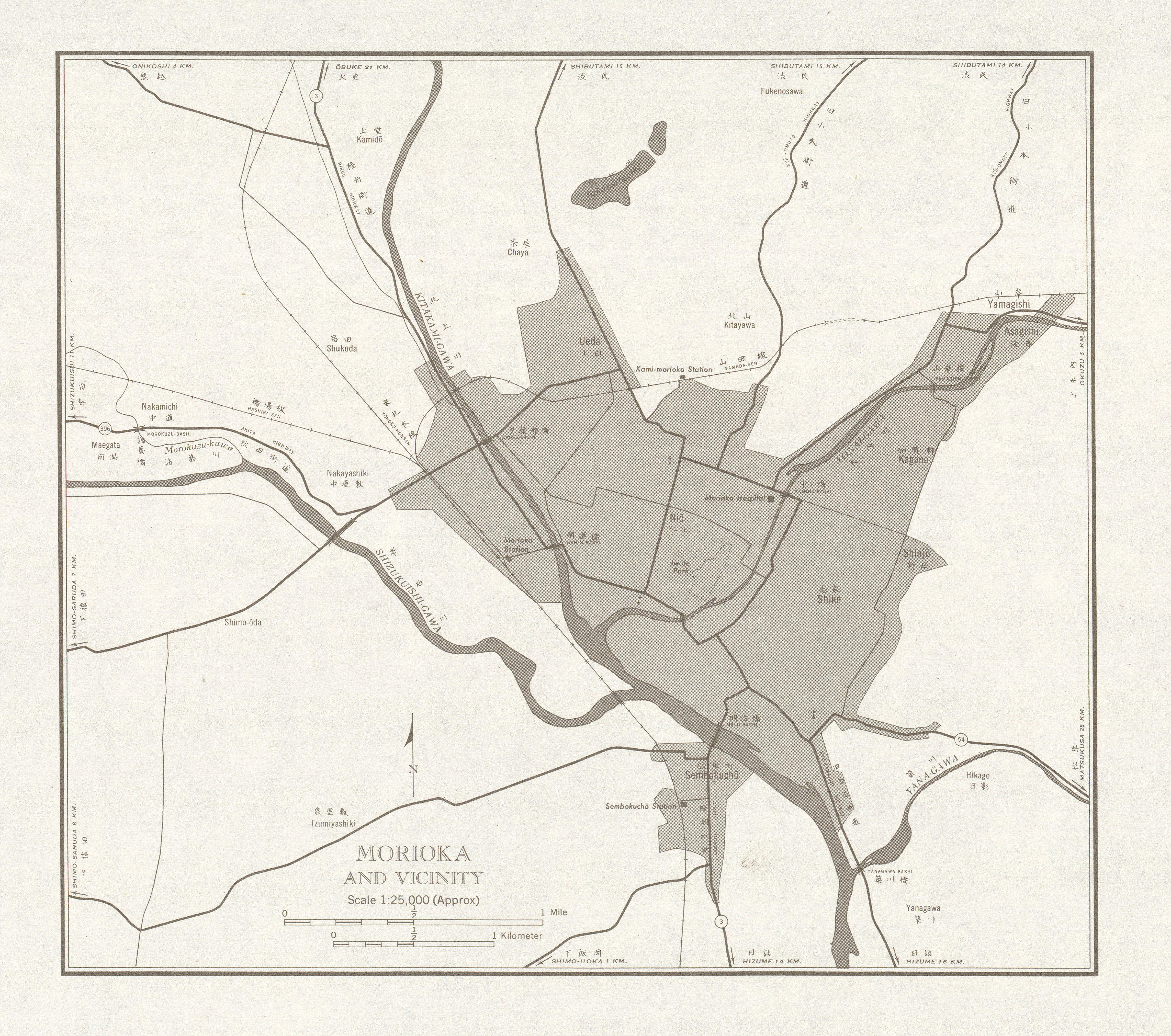 Mapa de Morioka y Cercanías, Japón 1954