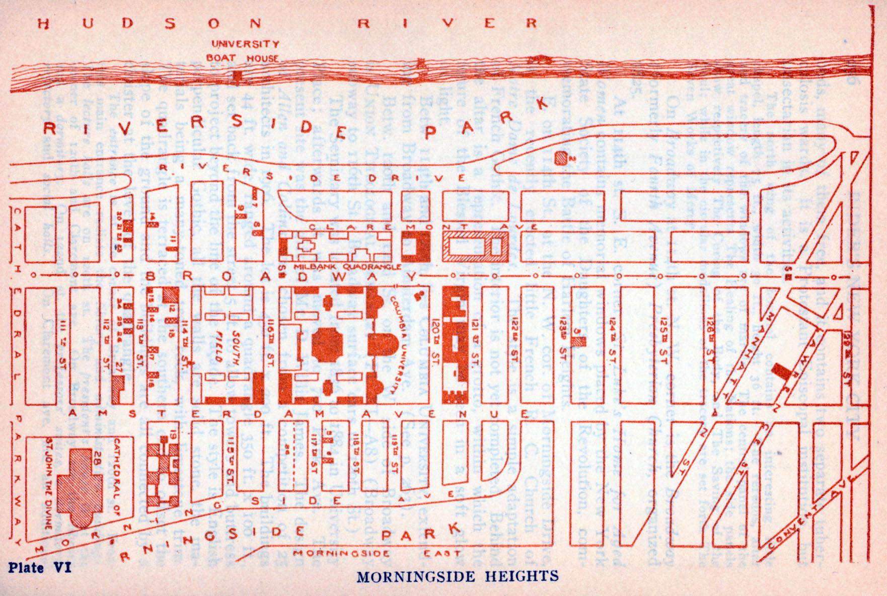 Mapa de Morningside Heights, Ciudad de Nueva York, Nueva York, Estados Unidos 1916