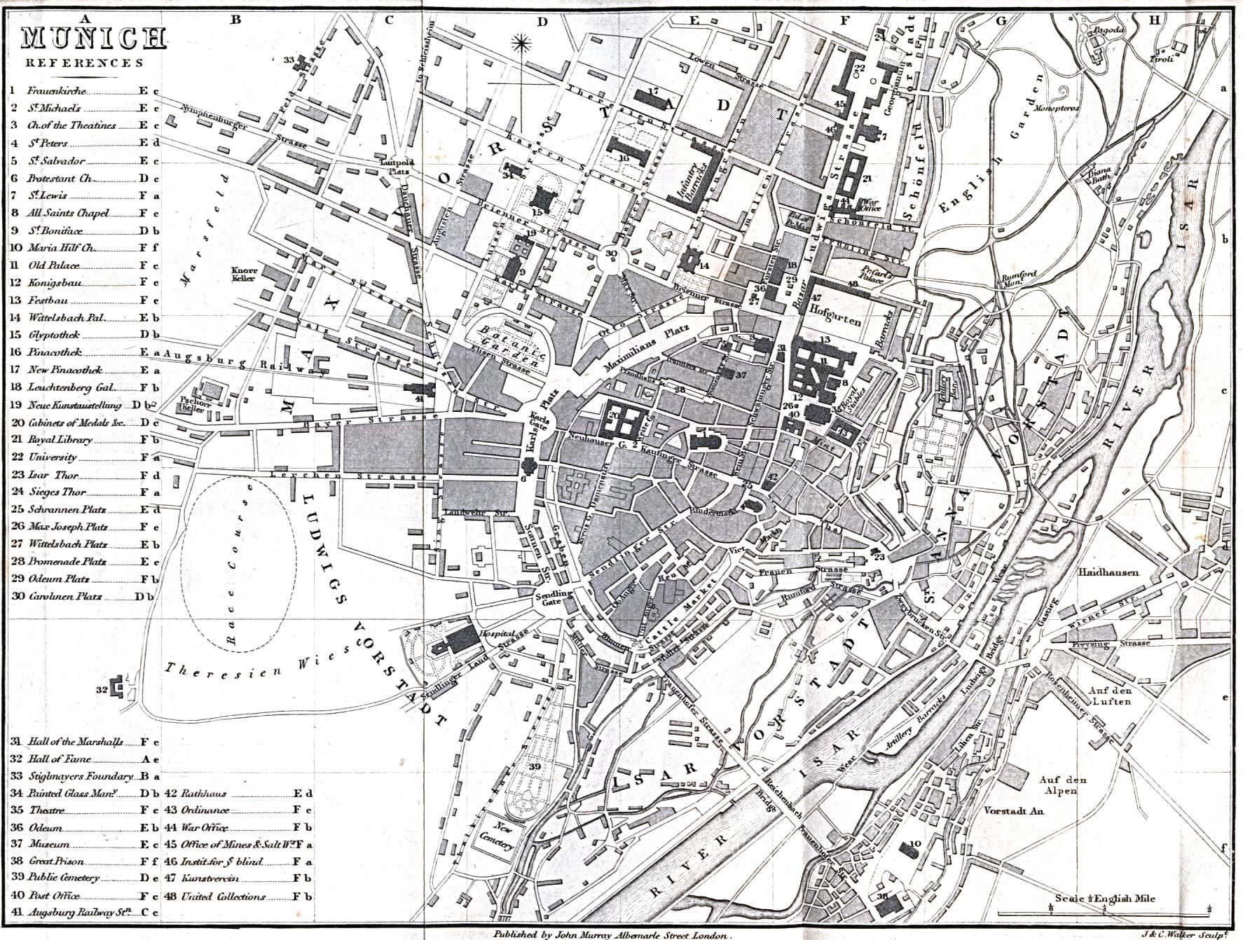 Mapa de Múnich, Alemania 1858