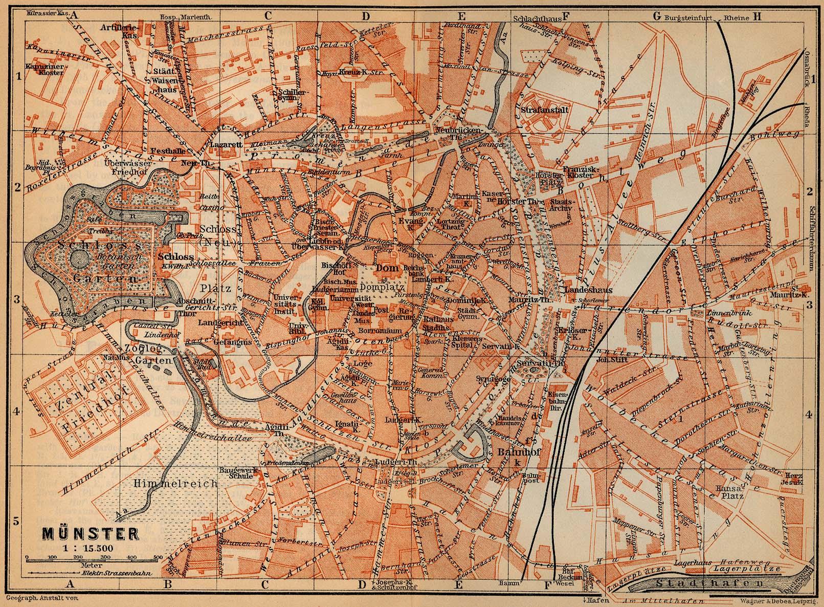 Mapa de Münster, Alemania 1910