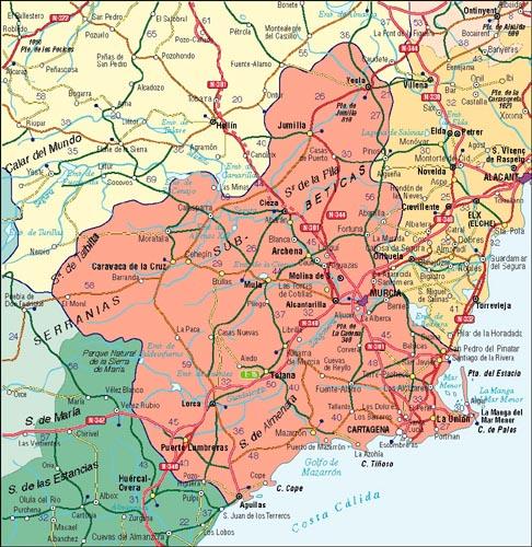 Mapa de Murcia, España
