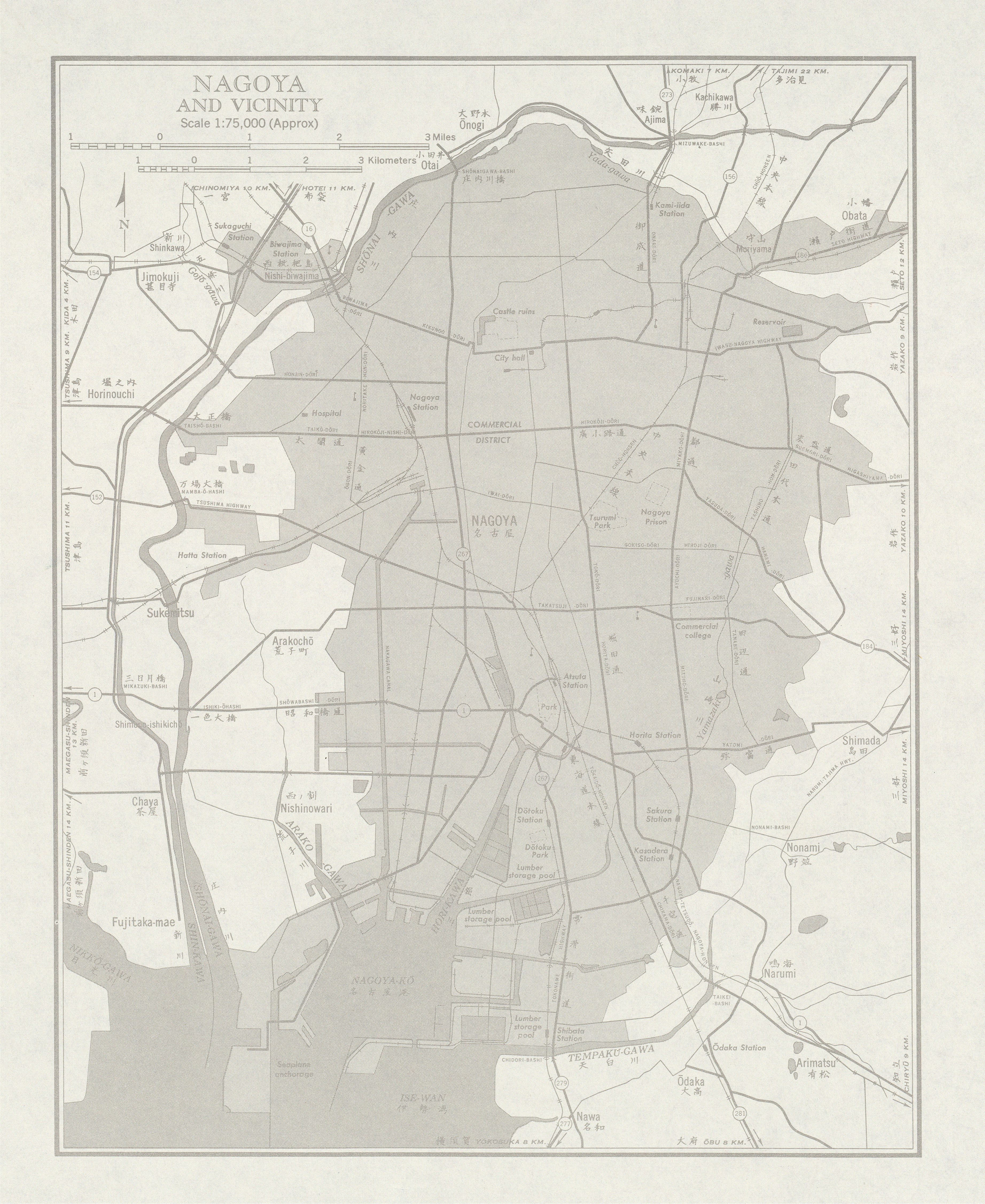 Map of Nagoya and Vicinity, Japan 1954
