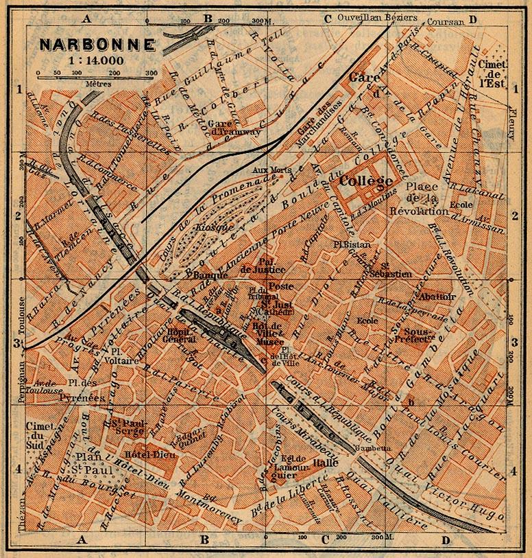 Mapa de Narbona, Francia 1914