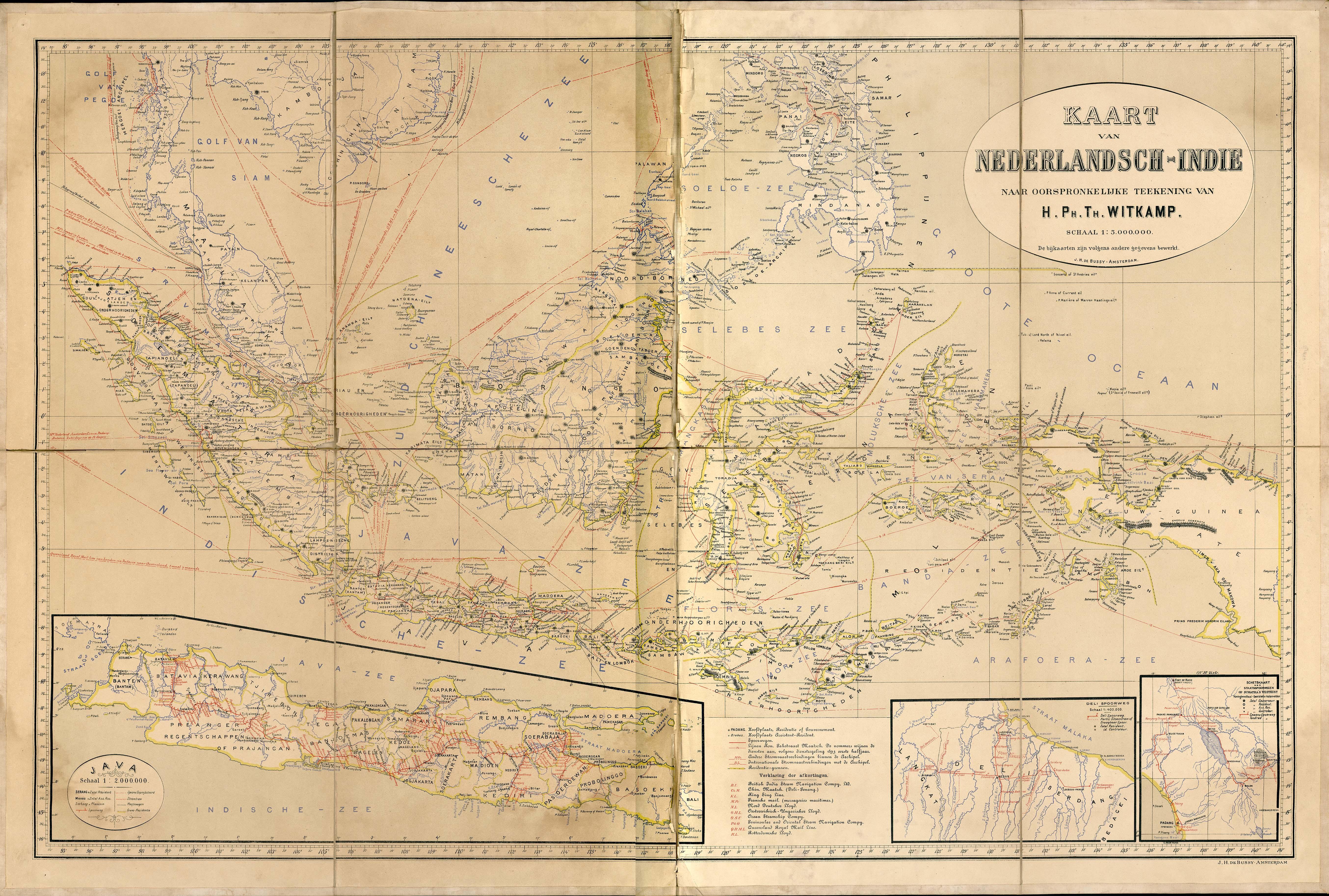Mapa de Nederlyisch-Indie (Indias Orientales Neerlandesas) Circa 1893