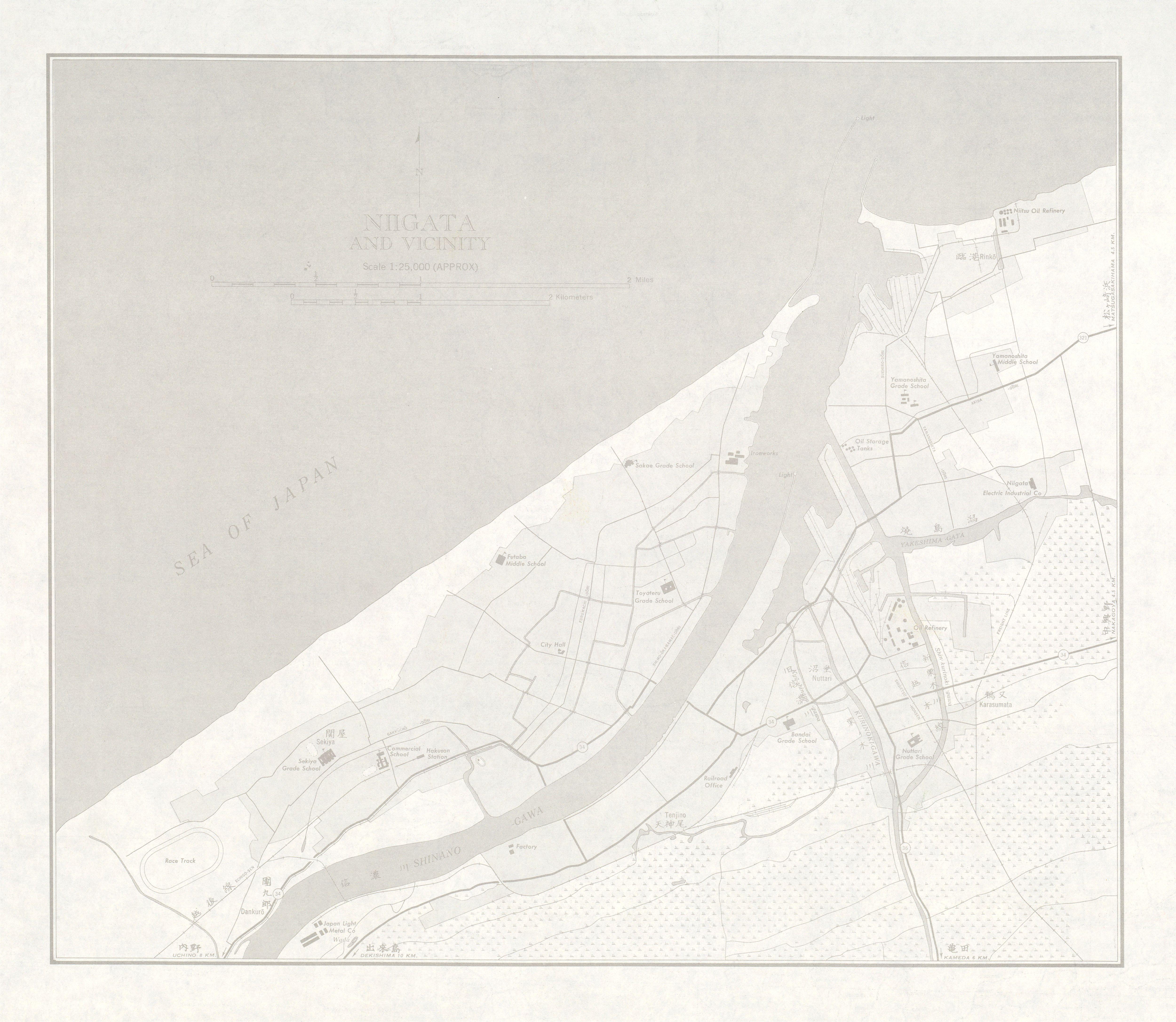 Mapa de Niigata y Cercanías, Japón 1954