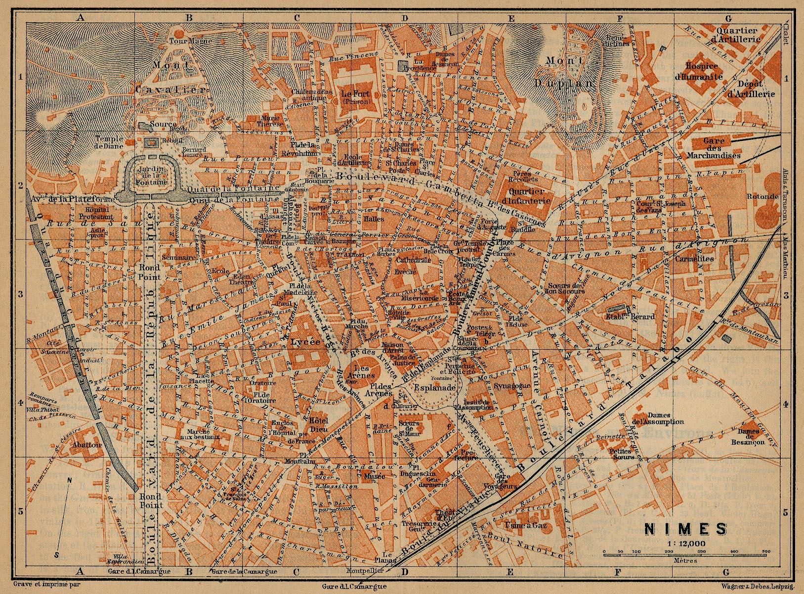 Mapa de Nimes, Francia 1914