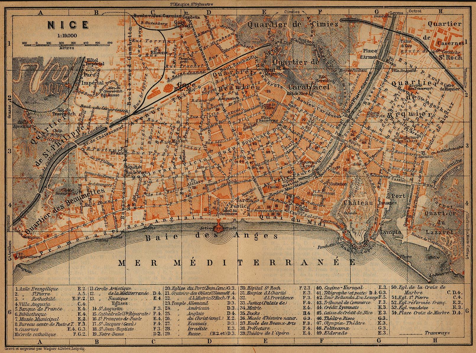 Nice Map, France 1914