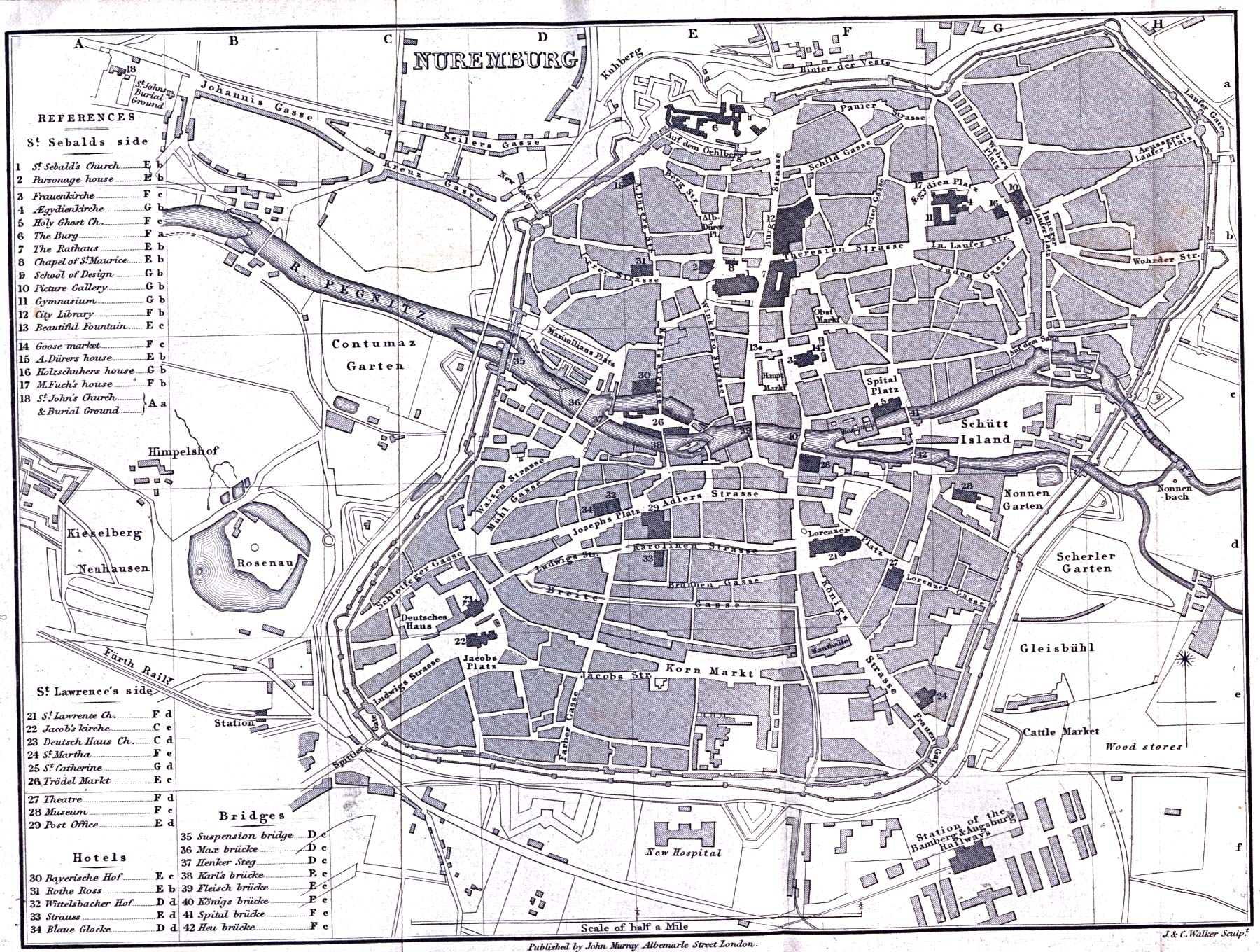 Nuremberg Map, Germany 1858