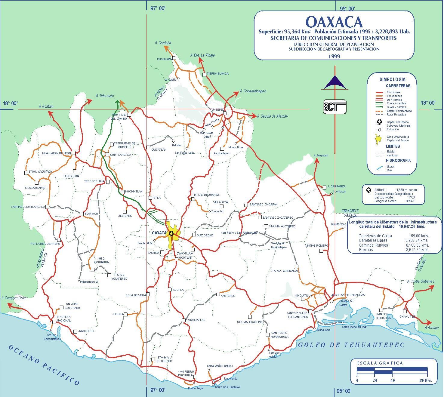 Mapa de Oaxaca (Estado), Mexico