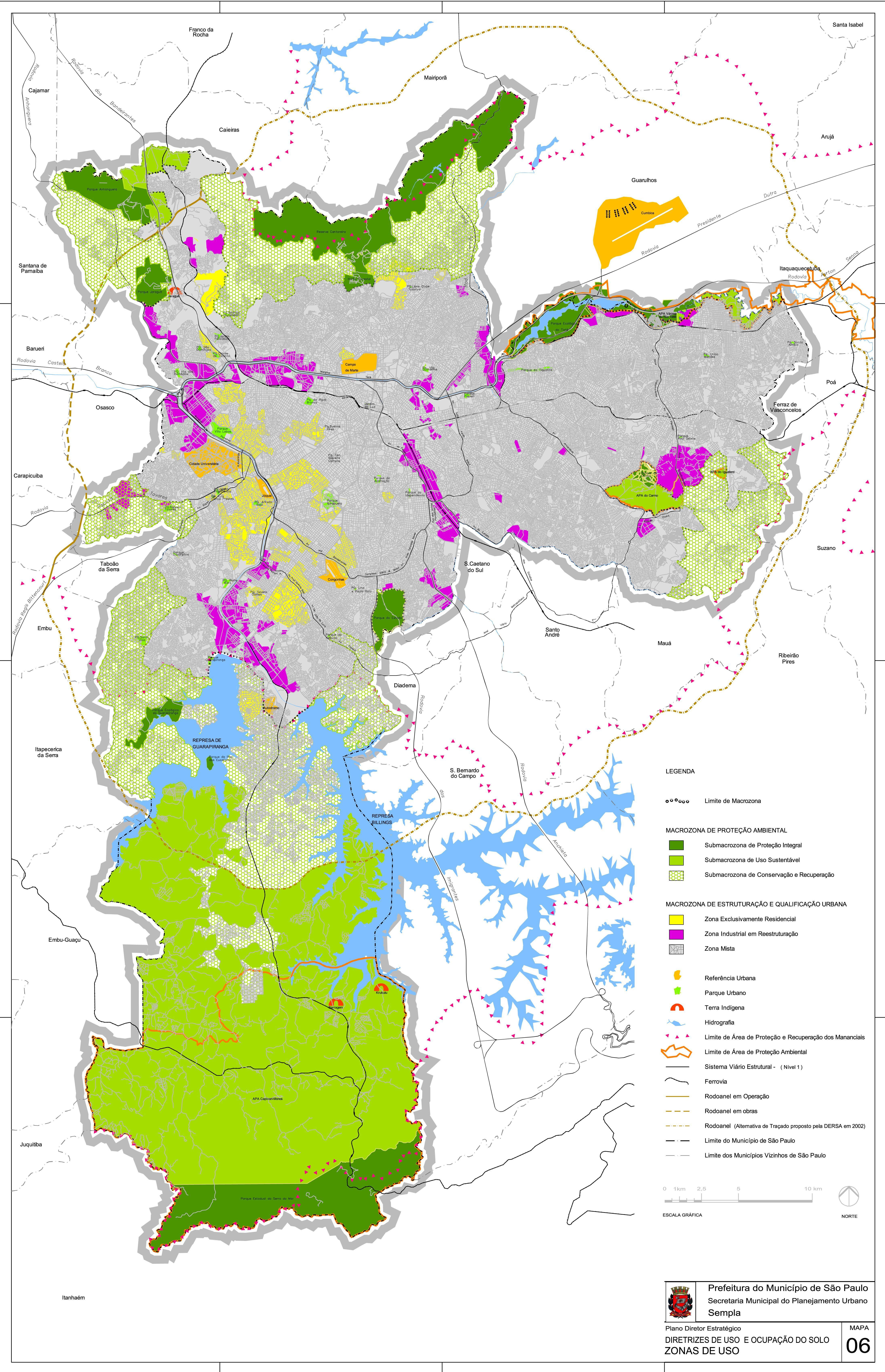Mapa de Ocupación y Uso del Suelo de la Ciudad de São Paulo, Brasil
