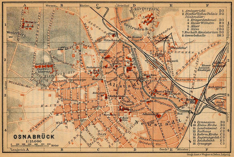 Mapa de Osnabrück, Alemania 1910