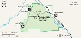 Mapa de Painted Hills Unit, Monumento Nacional John Day Fossil Beds, Oregón, Estados Unidos
