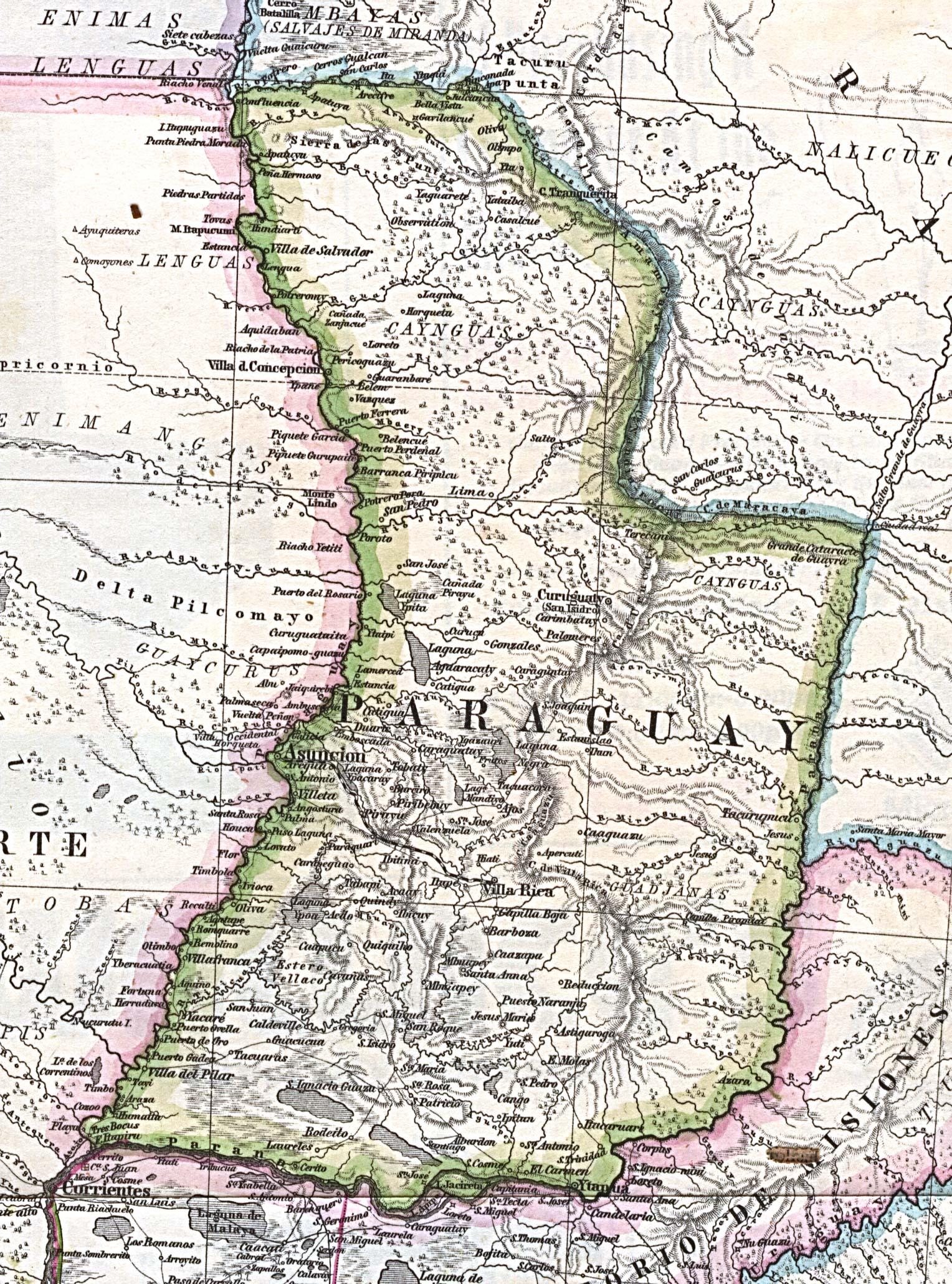 Mapa de Paraguay 1875