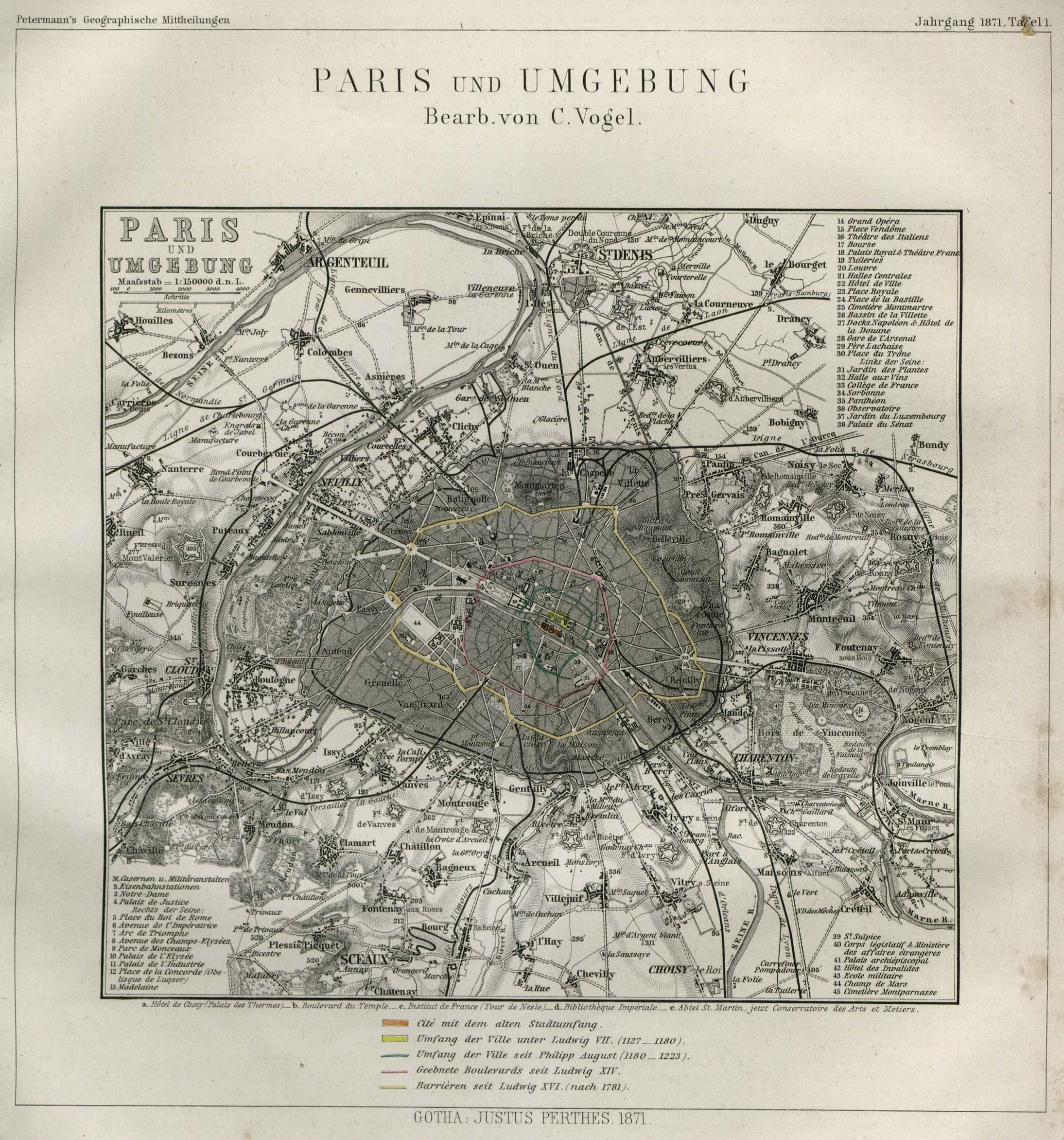 Paris Map, France 1871